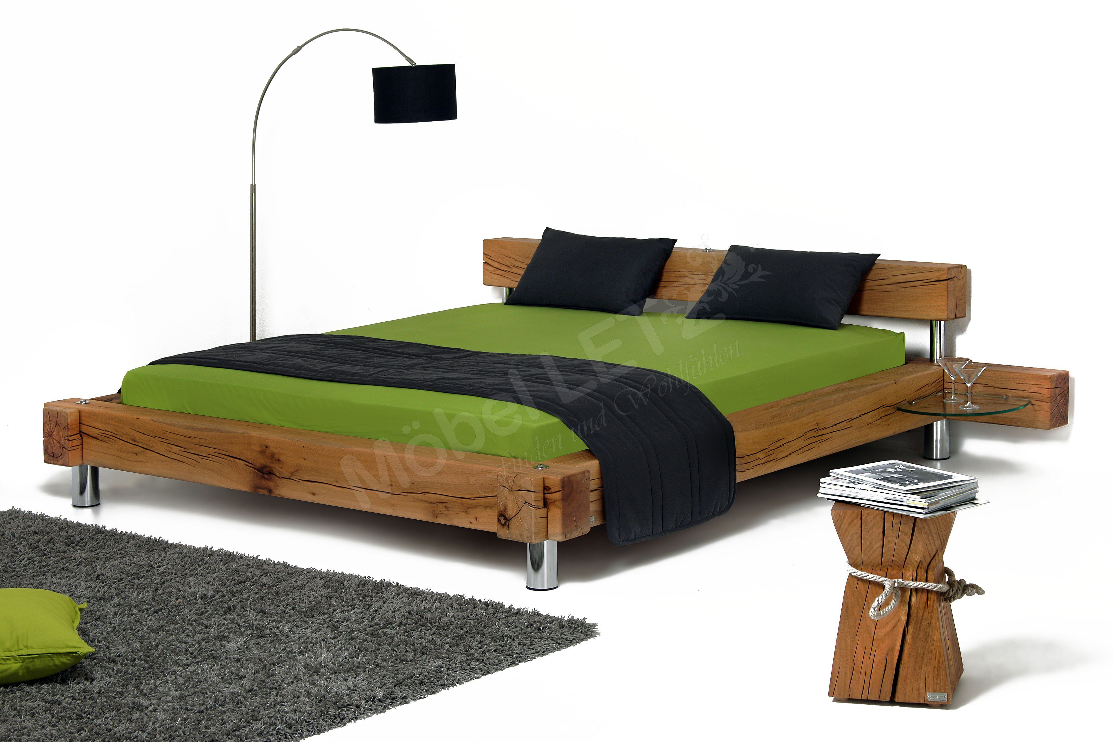 sprenger balken bett sumpfeiche geschliffen m bel letz ihr online shop. Black Bedroom Furniture Sets. Home Design Ideas