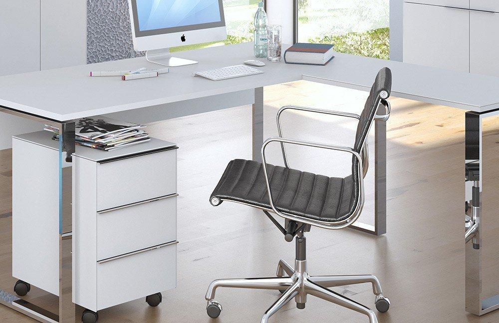 Maja Büromöbel Yas weiß/ Weißglas   Möbel Letz - Ihr Online-Shop