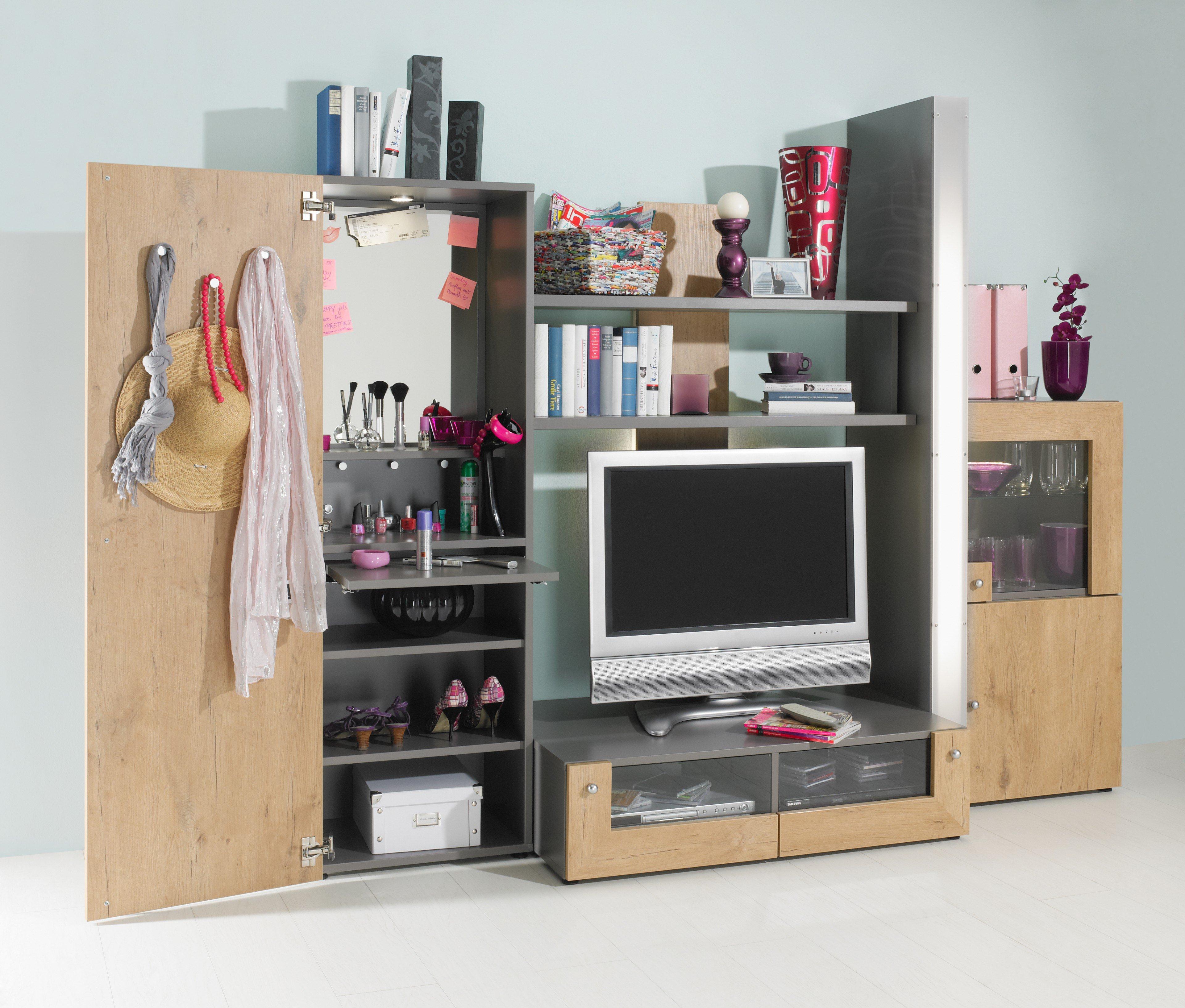Rudolf wohnwand fiftytwo grau wildeiche m bel letz ihr online shop - Jugendzimmer wohnwand ...