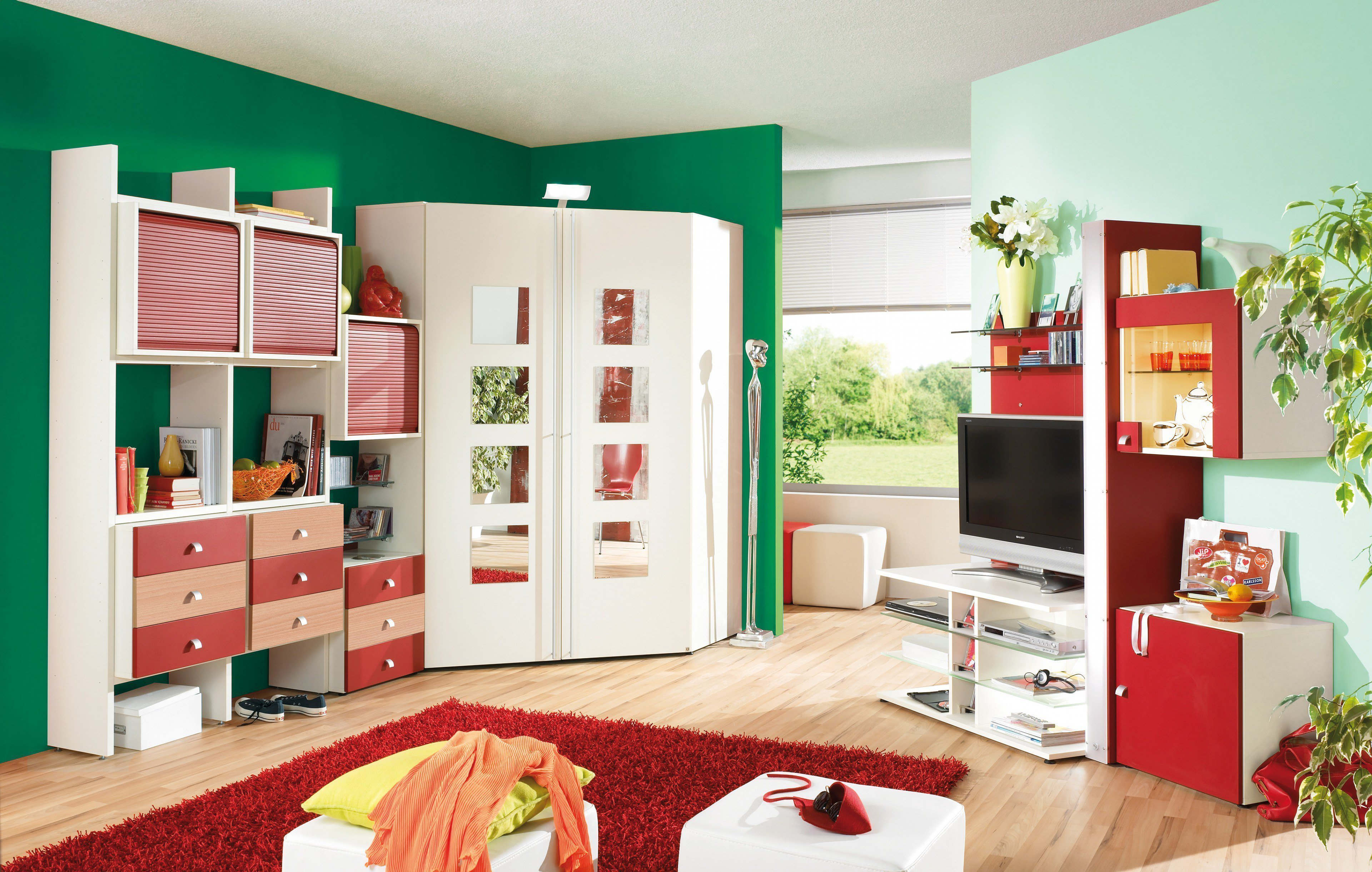 rudolf wohnwand fiftytwo creme rot m bel letz ihr online shop. Black Bedroom Furniture Sets. Home Design Ideas