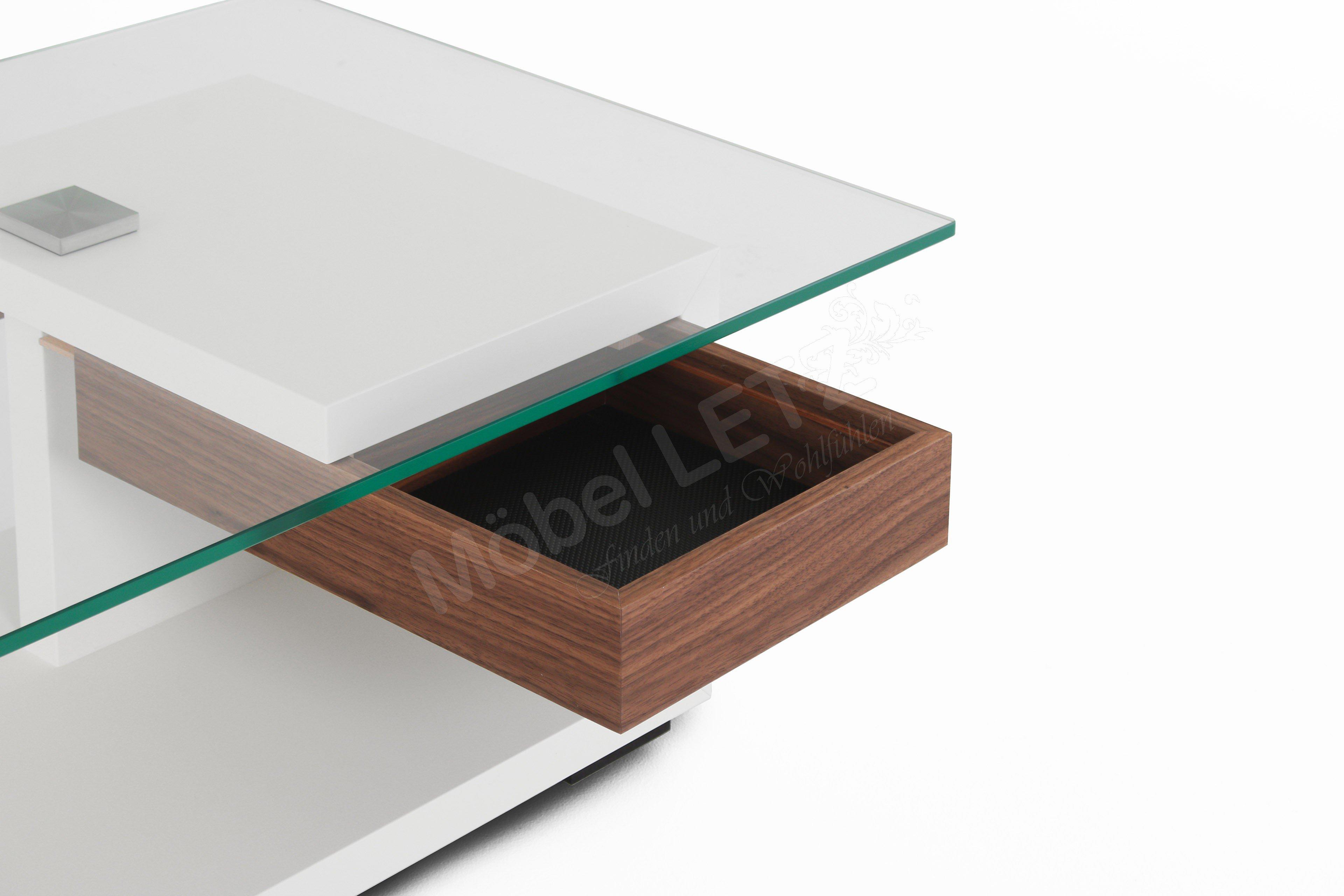 Gwinner Wohndesign Couchtisch Ct404 110 Lack Weiß Nussbaum Möbel