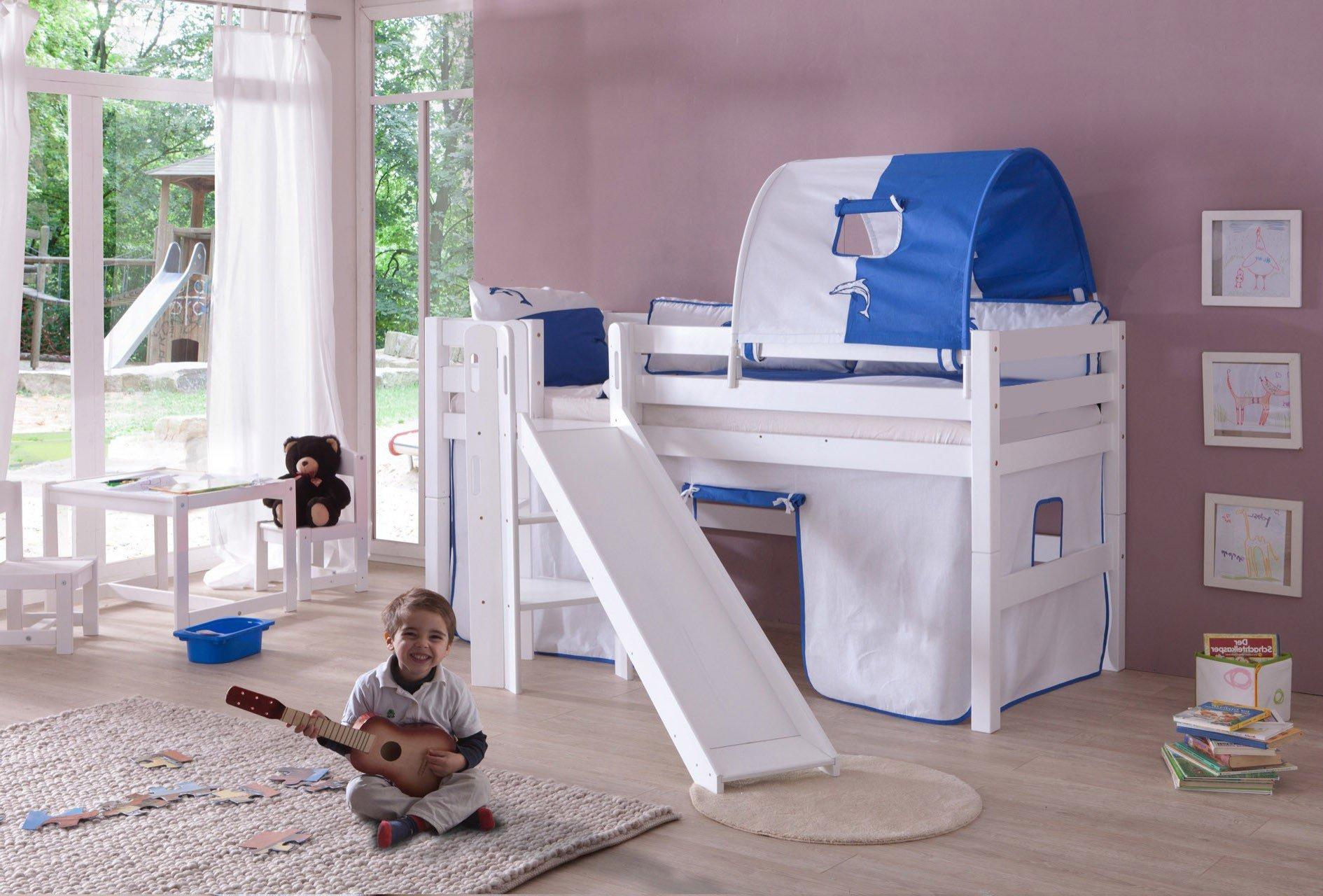 Etagenbett Weiss Mit Rutsche : Kinder hochbett cm weiß mit rutsche lattenrost in baden