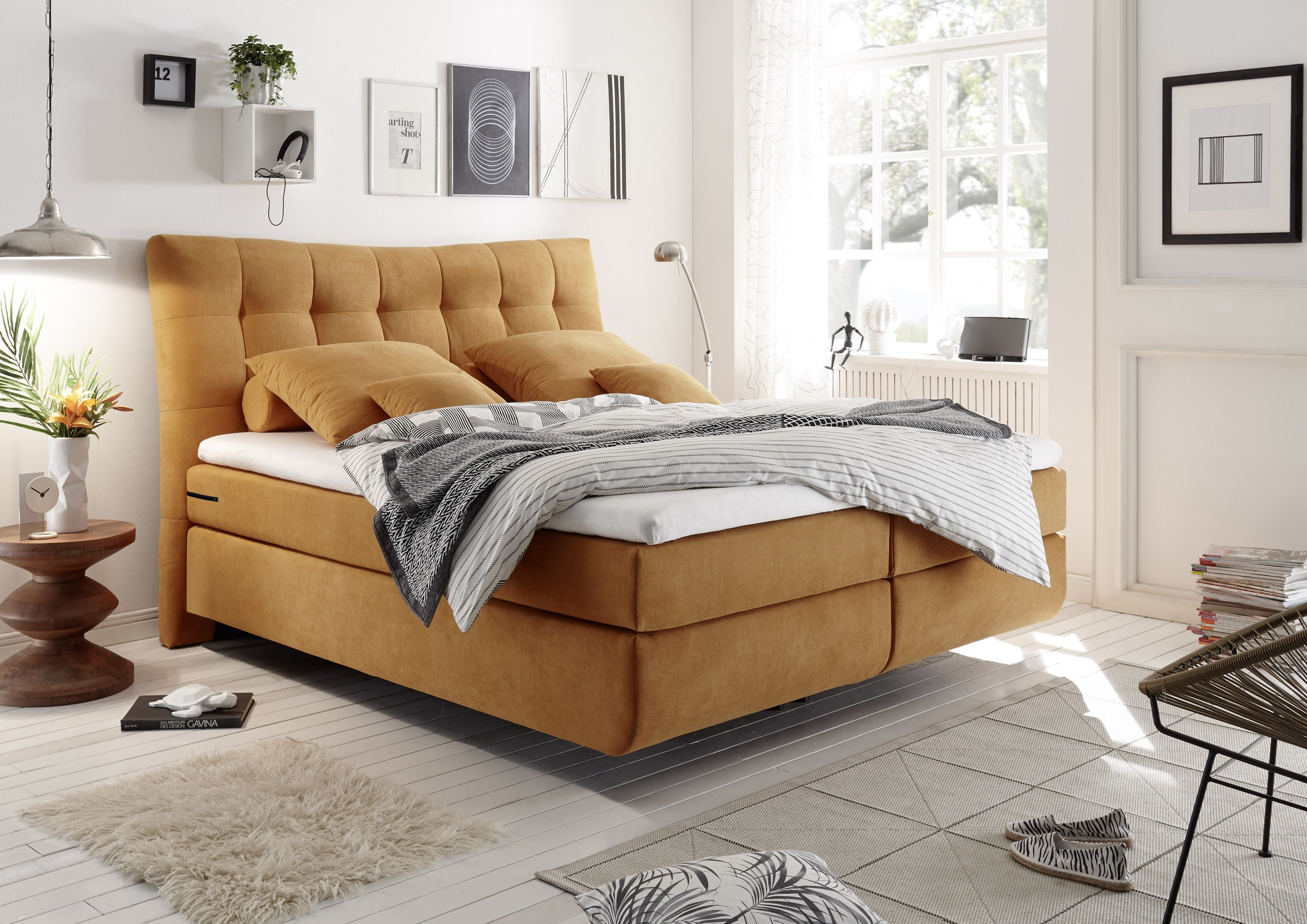 black red white boxspringbett malibu in safran inklusive topper m bel letz ihr online shop. Black Bedroom Furniture Sets. Home Design Ideas