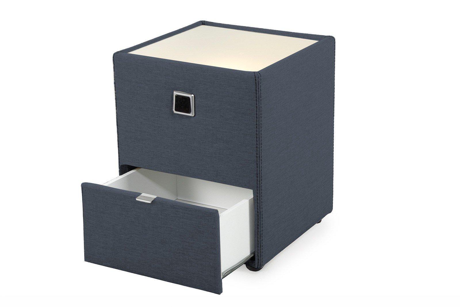 jockenh fer lancy nachtkonsole in blau mit beleuchtung in der ablagefl che m bel letz ihr. Black Bedroom Furniture Sets. Home Design Ideas