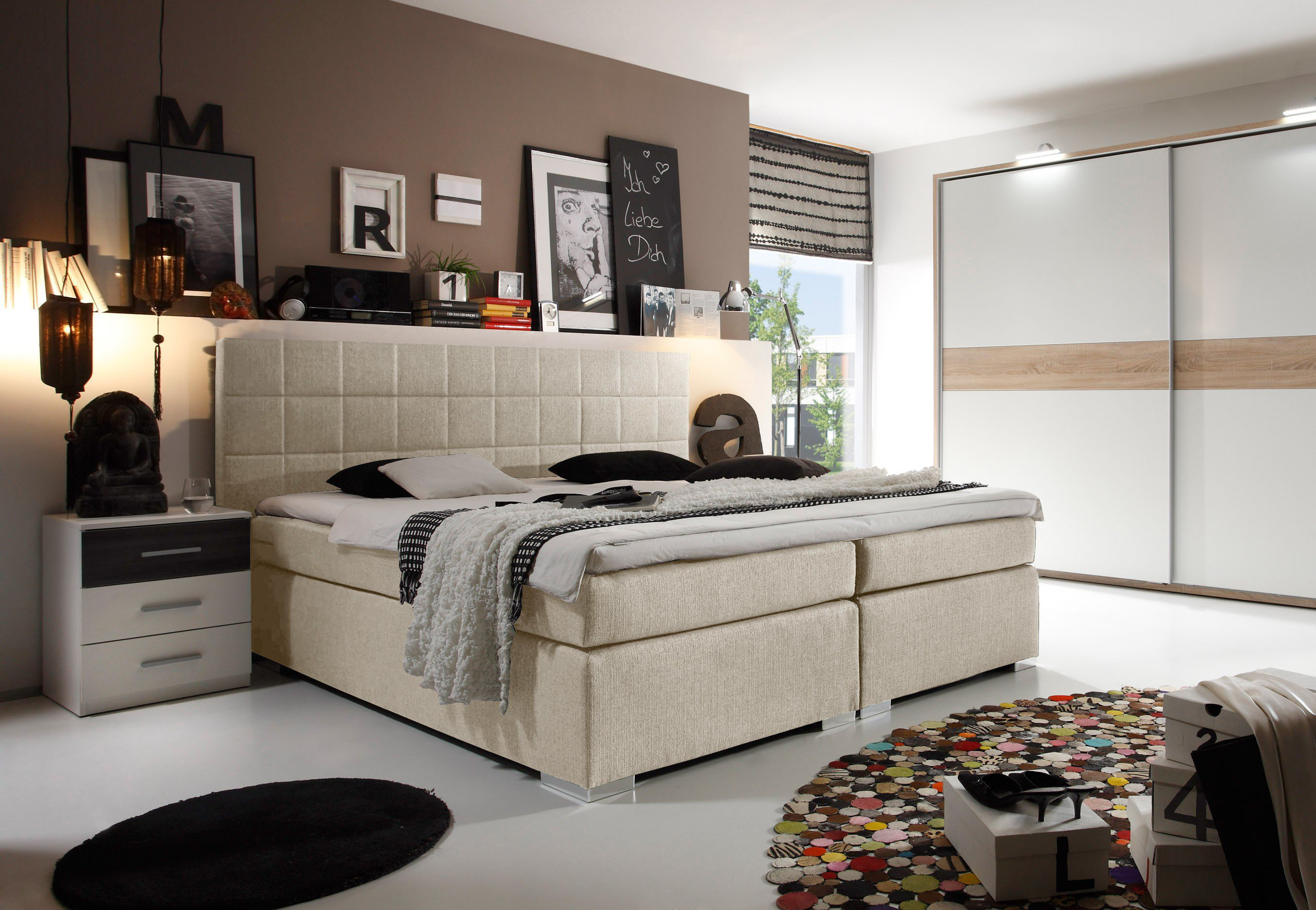 black red white miami boxspringbett in beige inklusive topper m bel letz ihr online shop. Black Bedroom Furniture Sets. Home Design Ideas