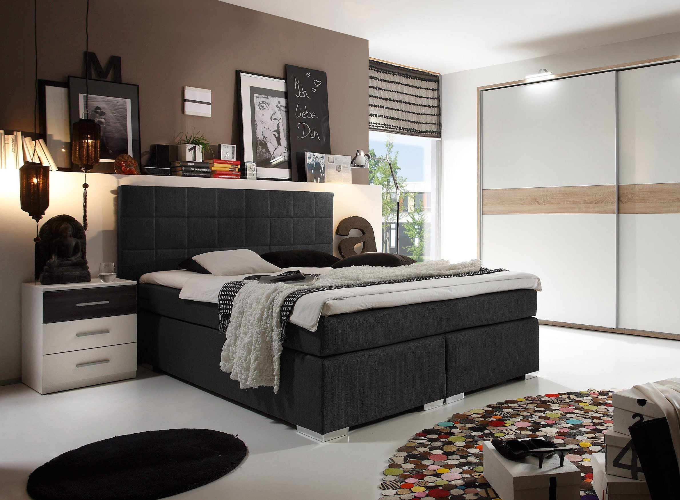 black red white miami boxspringbett in schwarz ca 140 x. Black Bedroom Furniture Sets. Home Design Ideas