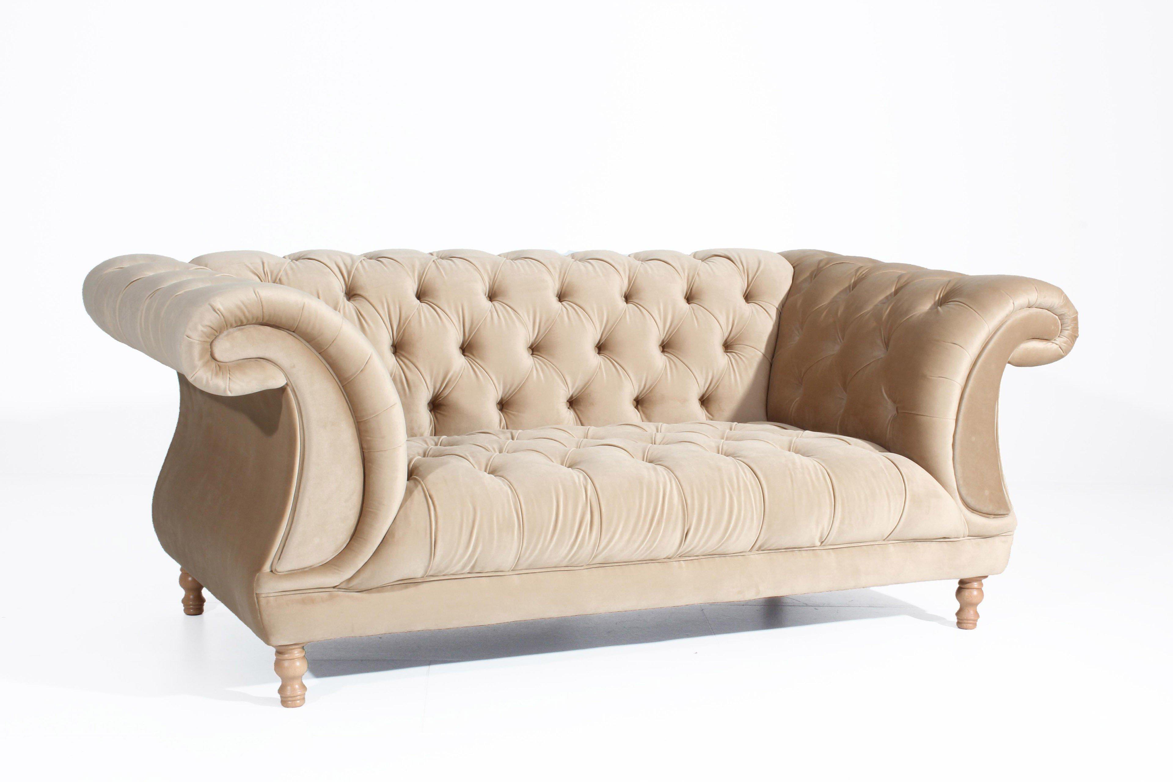 Max Winzer Ivette Chesterfield Sofa beige   Möbel Letz - Ihr Online-Shop