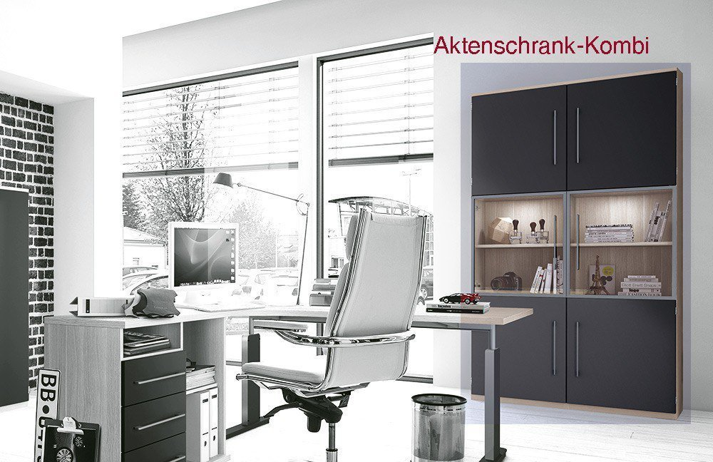 r hr bush techno schreibtisch eiche anthrazit m bel. Black Bedroom Furniture Sets. Home Design Ideas