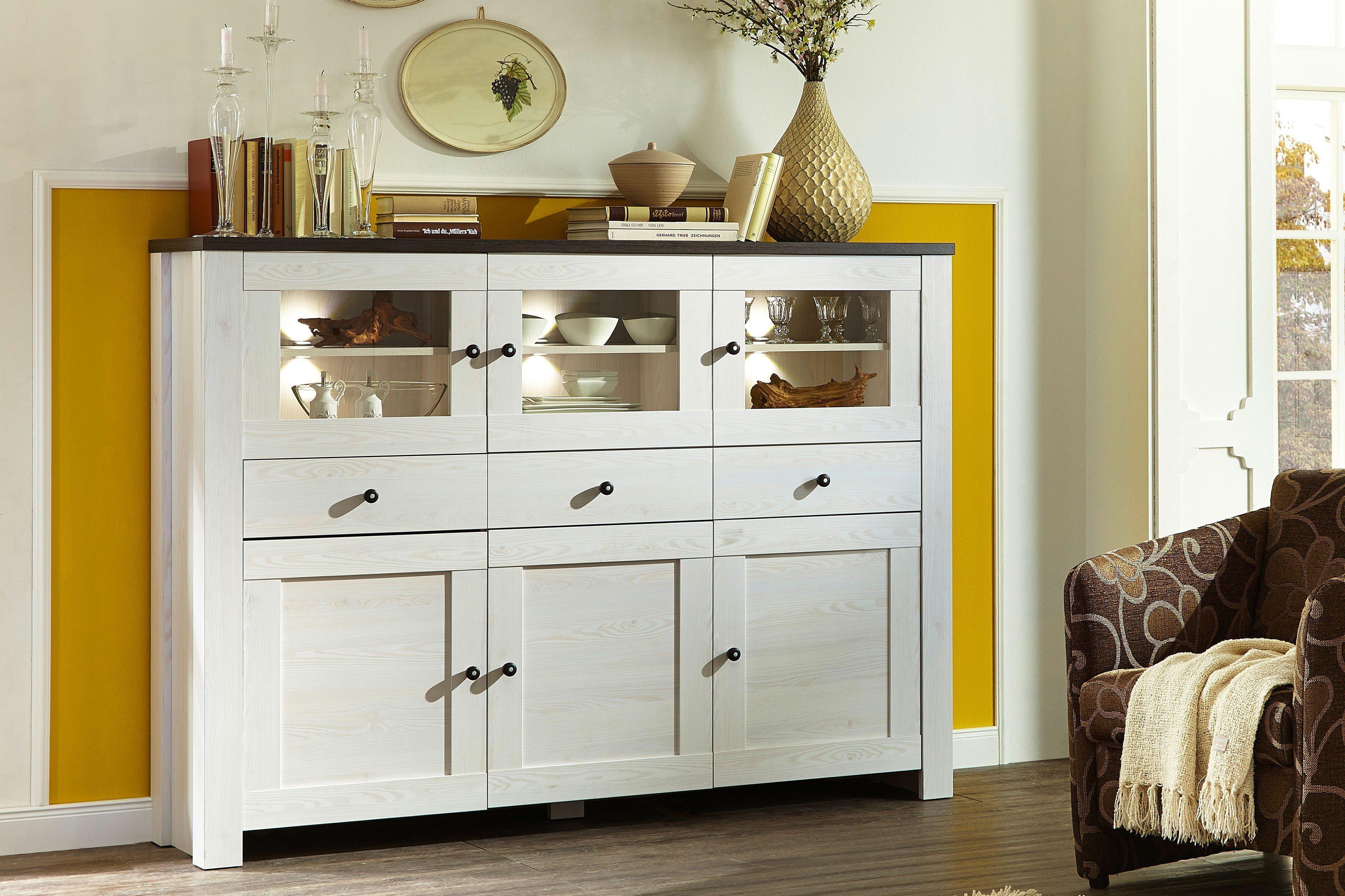 innostyle highboard antwerpen bram l rche pinie mit beleuchtung m bel letz ihr online shop. Black Bedroom Furniture Sets. Home Design Ideas