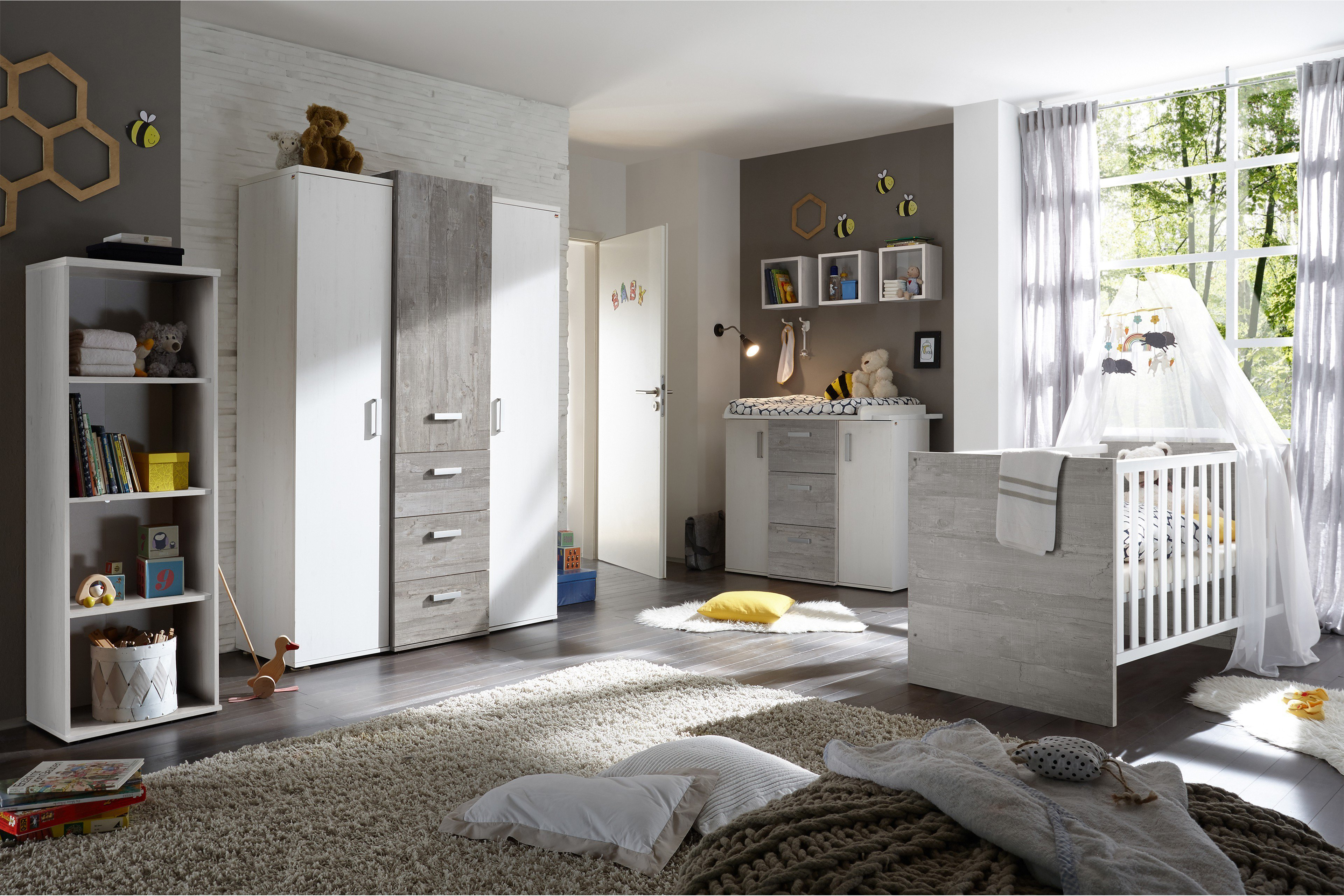 babyzimmer komplett set babyzimmer komplett set boston in wei und eiche riviera honig teilig. Black Bedroom Furniture Sets. Home Design Ideas