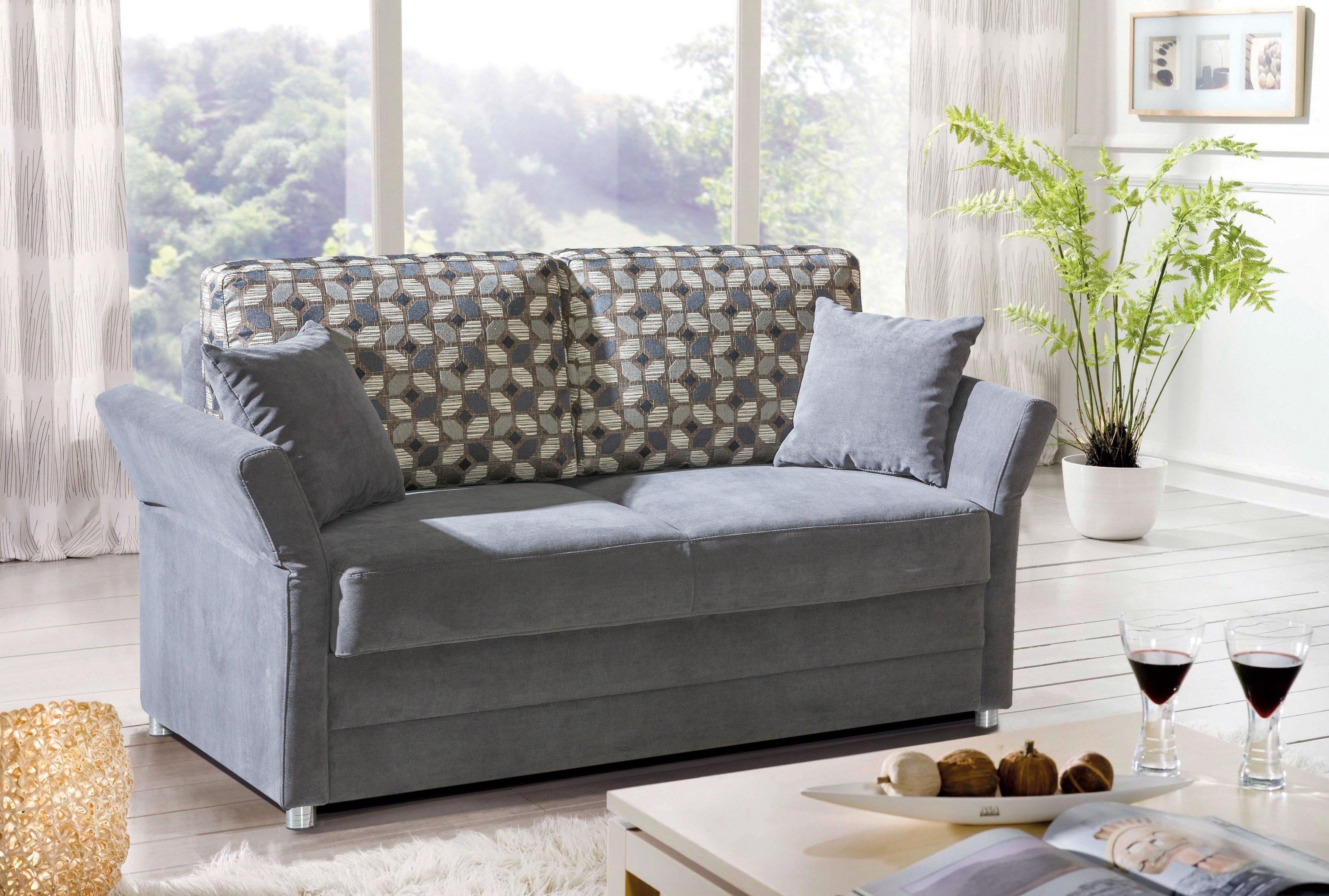 restyl mila renzo schlafsofa in anthrazit mit klappbaren armlehnen l m bel letz ihr online shop. Black Bedroom Furniture Sets. Home Design Ideas