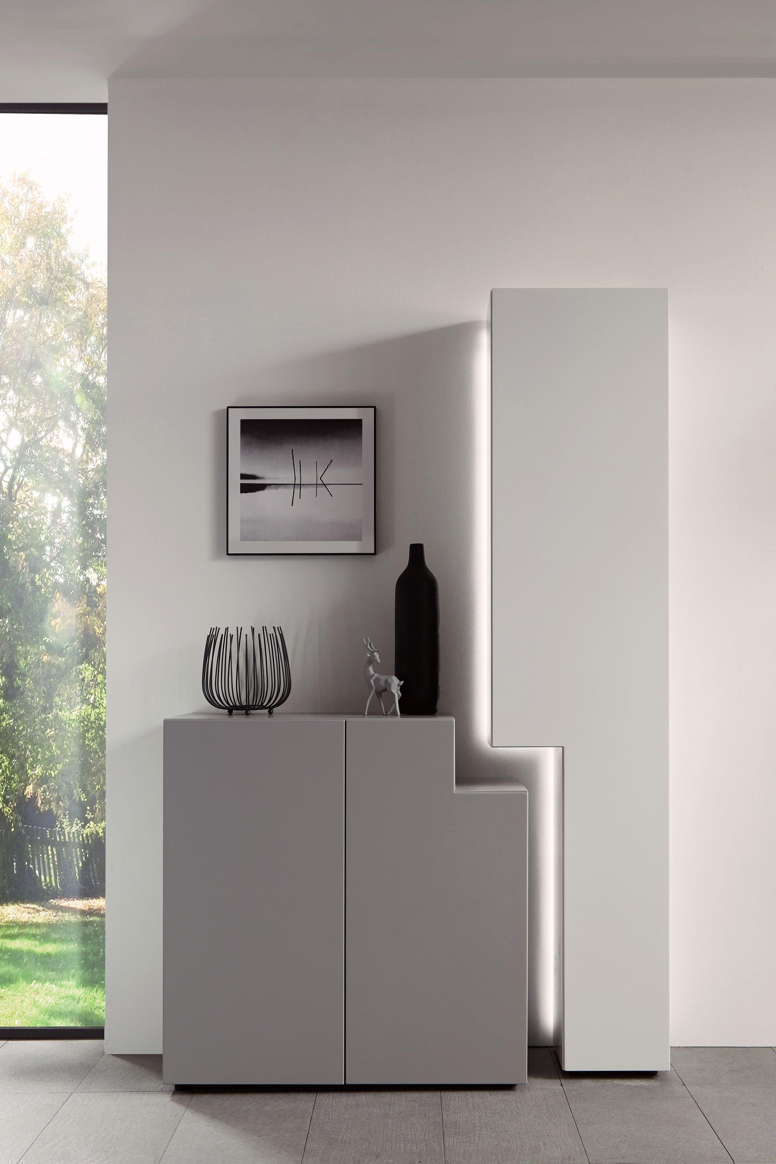 w stmann wohnwand nw 440 bianco eiche m bel letz ihr online shop. Black Bedroom Furniture Sets. Home Design Ideas