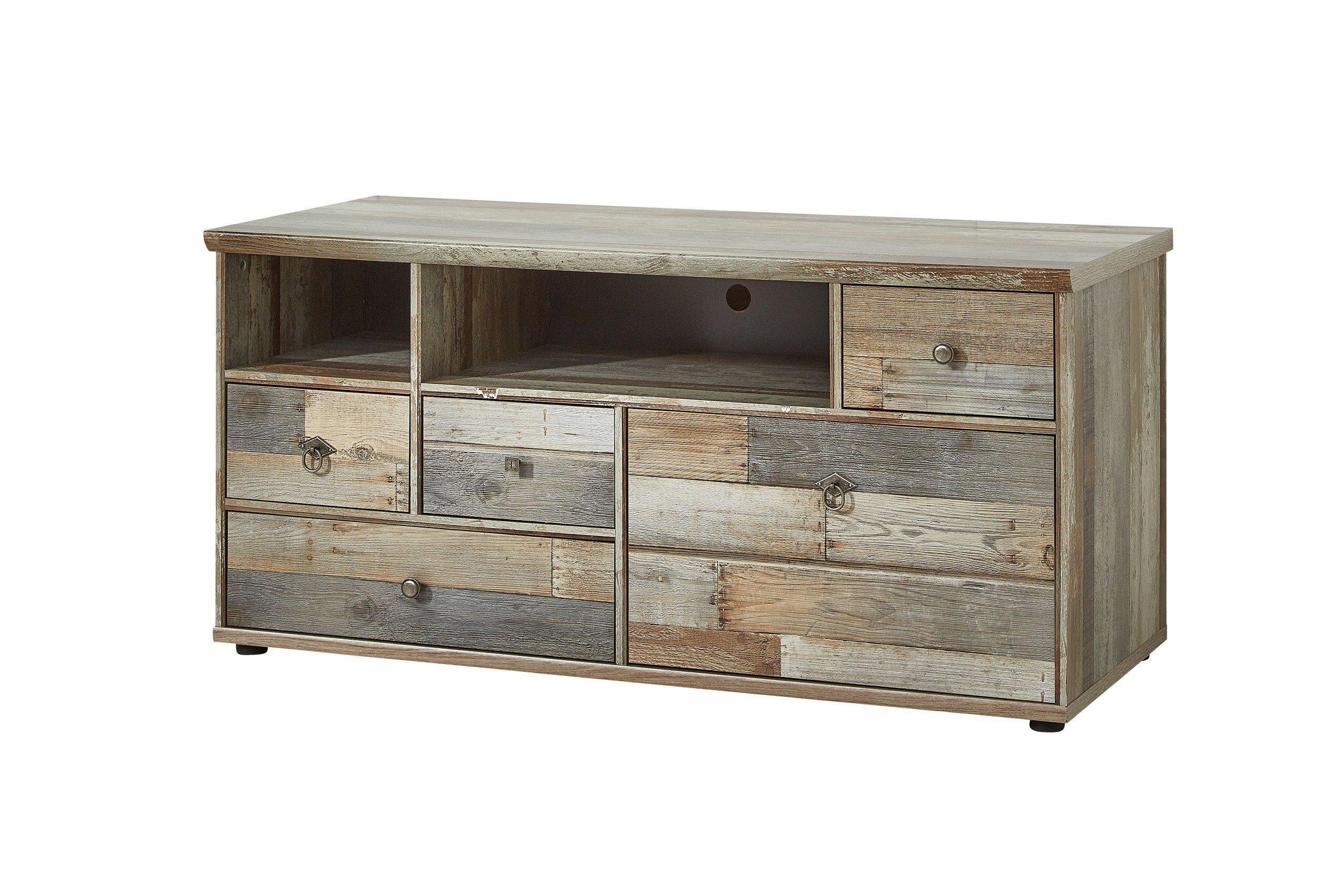 Innostyle wohnwand bonanza mit beleuchtung in driftwood for Wohnwand vintage look