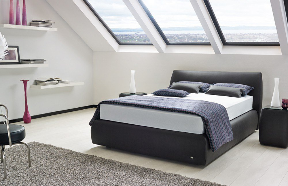 boxspringbett primero von ruf in anthrazit mit niedrigem. Black Bedroom Furniture Sets. Home Design Ideas