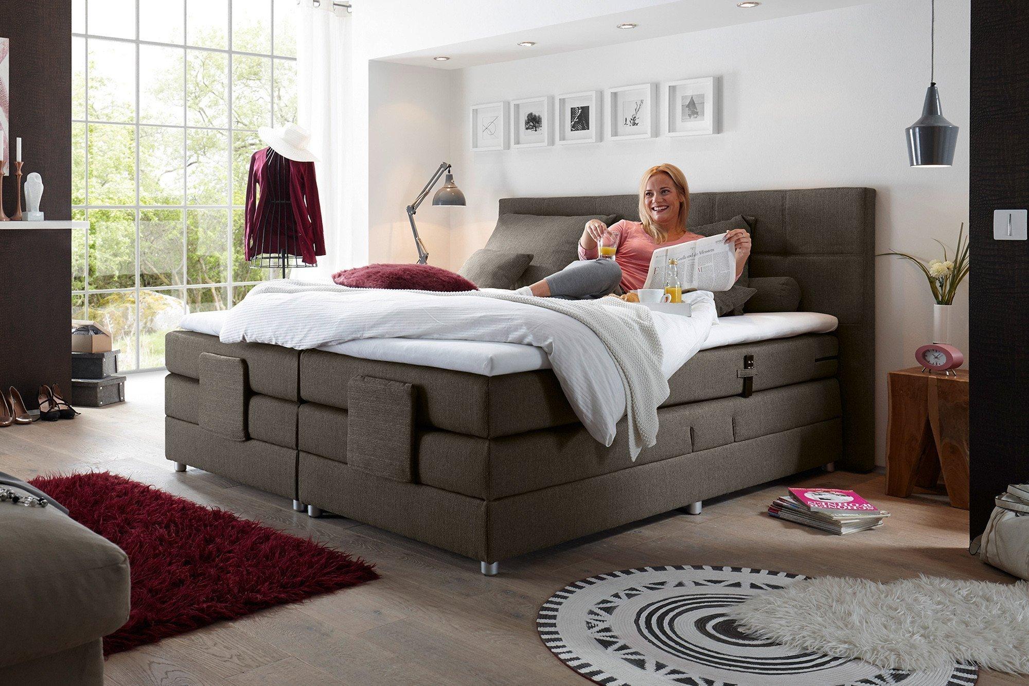 black red white boxspringbett manolo juliann mit motorischer funktion m bel letz ihr. Black Bedroom Furniture Sets. Home Design Ideas
