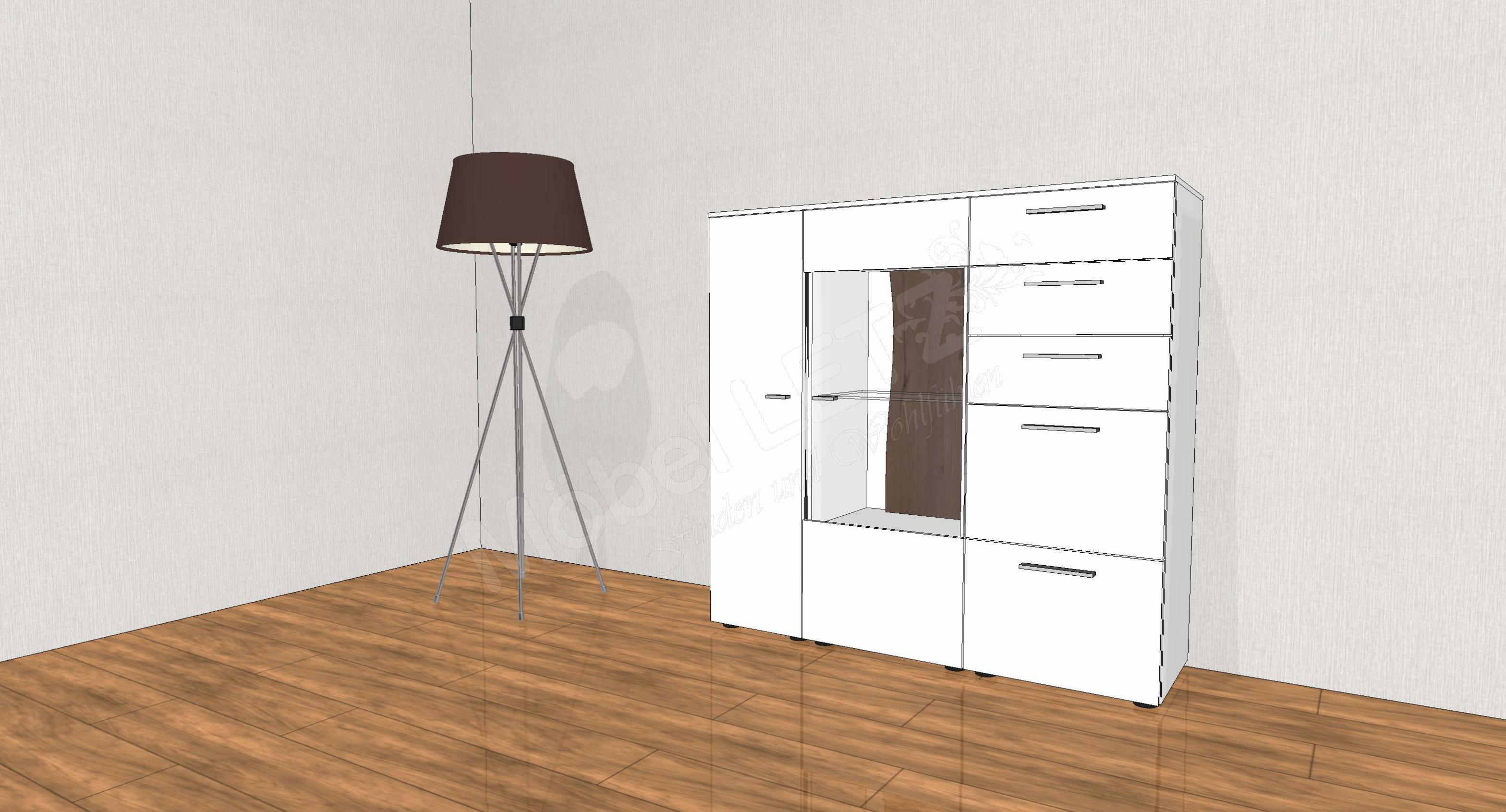 gwinner highboard lucca hb7 wei eiche ger uchert m bel letz ihr online shop. Black Bedroom Furniture Sets. Home Design Ideas