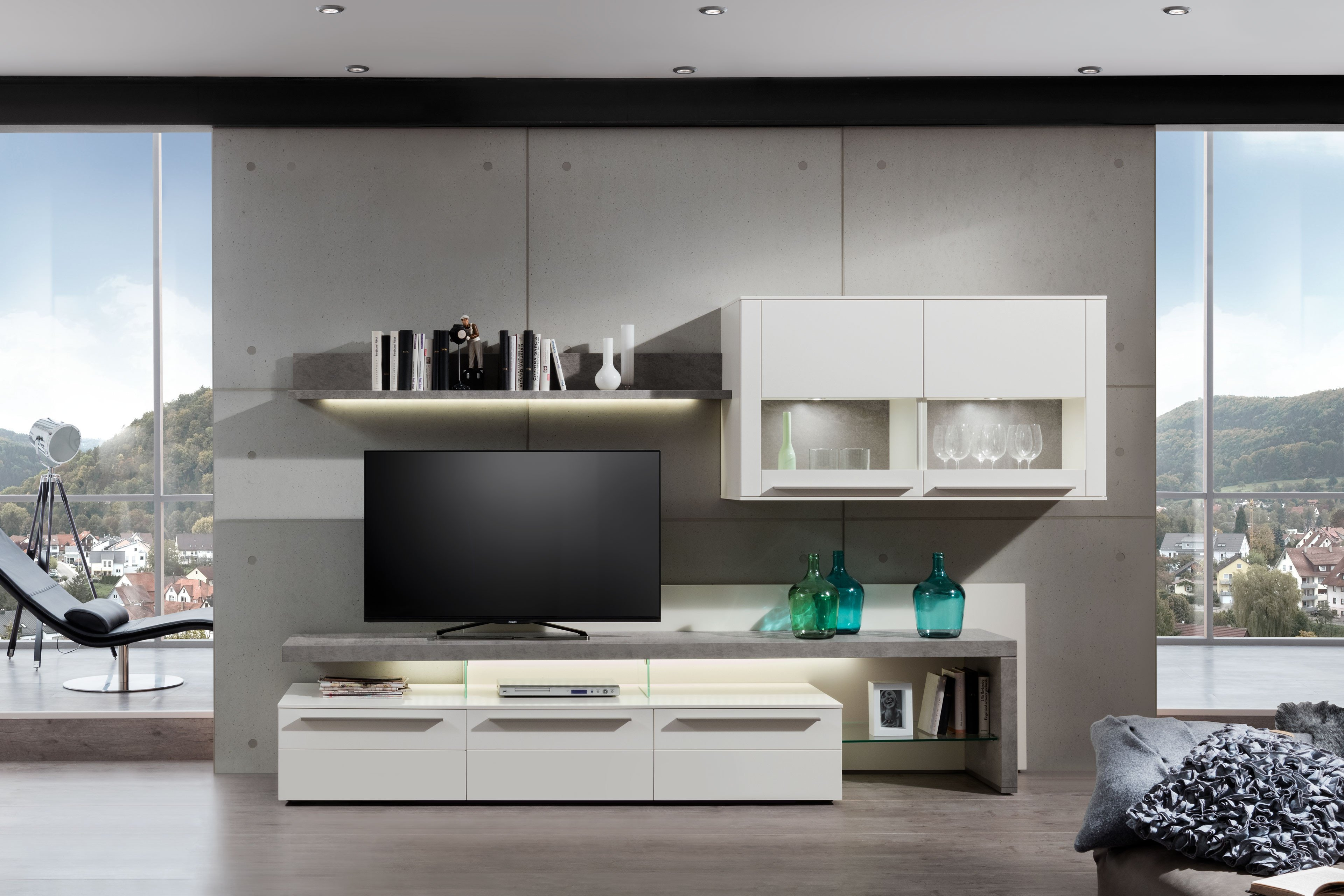 gwinner wohnwand bellano wei betonoptik m bel letz ihr online shop. Black Bedroom Furniture Sets. Home Design Ideas