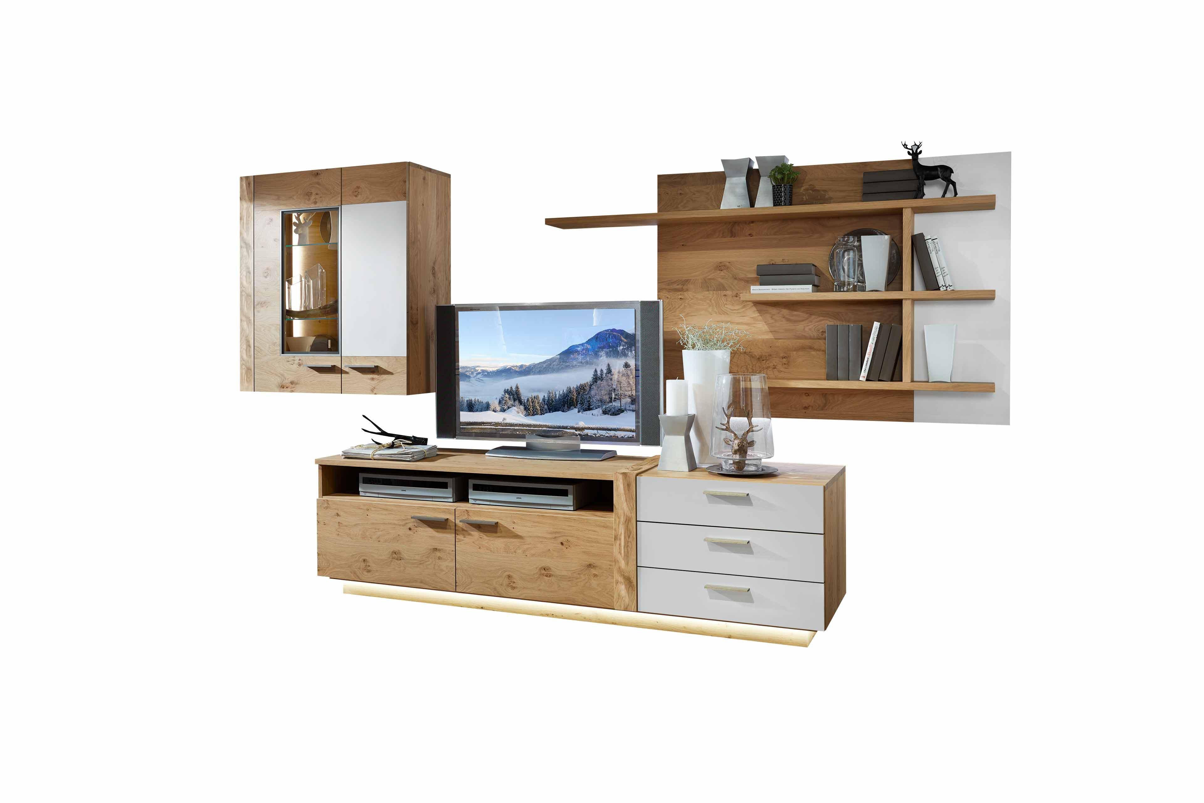wohnwand von schr der m bel kitzalm alpin wildasteiche satinglas snow m bel letz ihr online. Black Bedroom Furniture Sets. Home Design Ideas