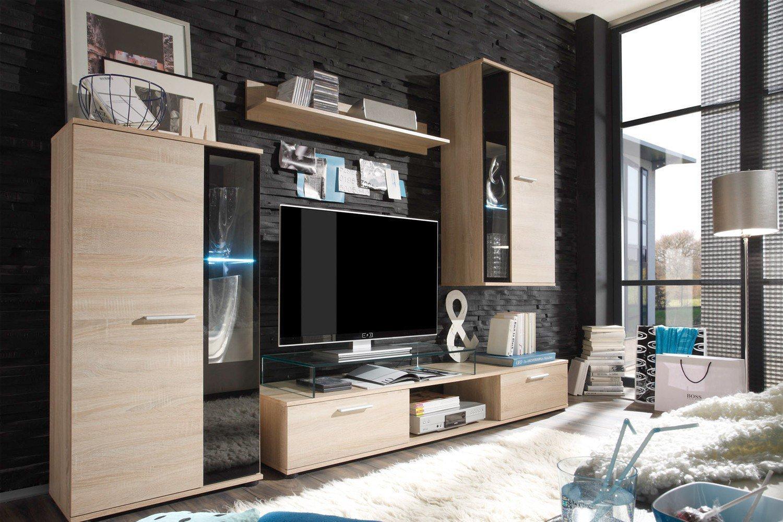 wohnwand salsa eiche s gera hell von trendteam m bel letz ihr online shop. Black Bedroom Furniture Sets. Home Design Ideas