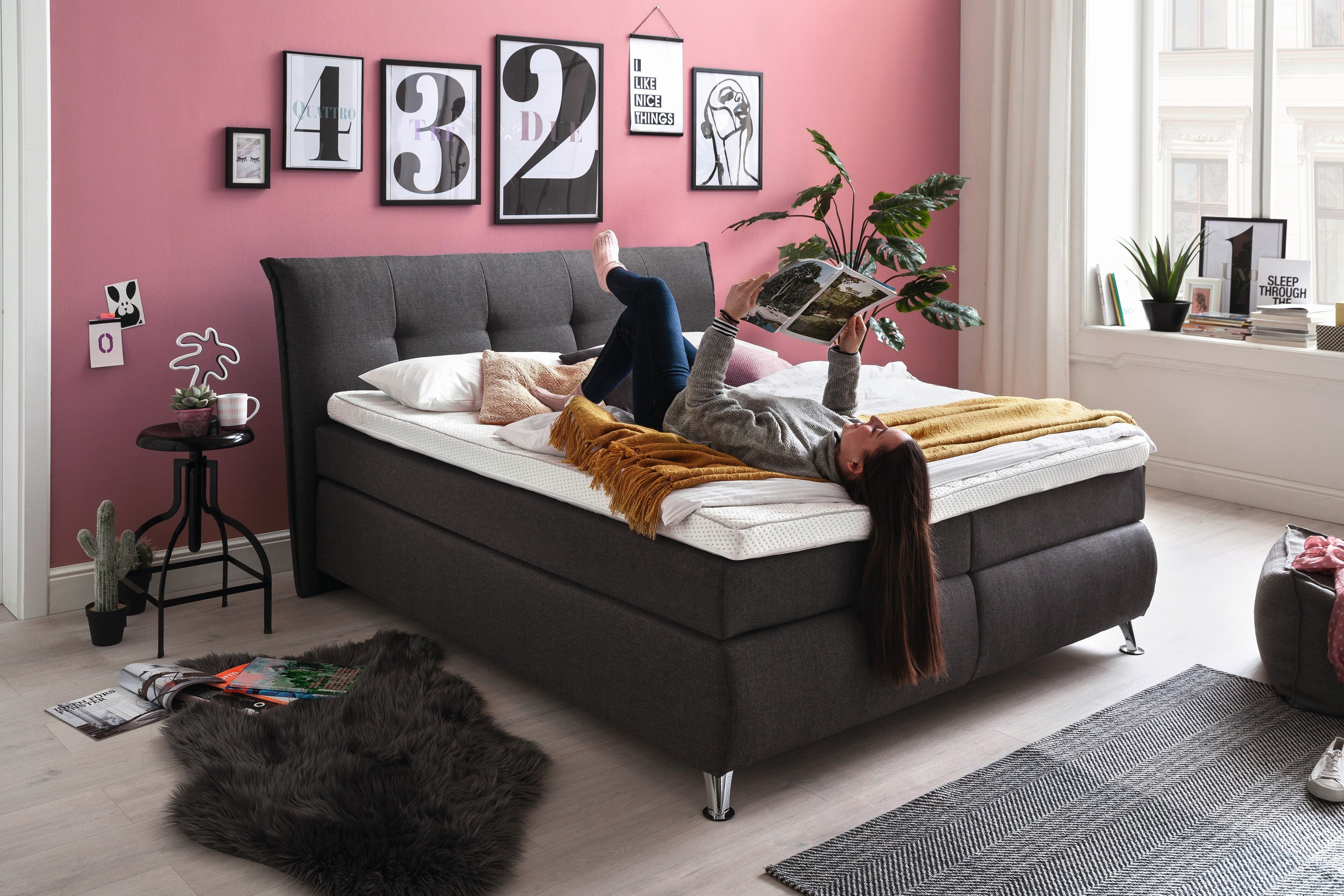 hapo lexos boxspringbett in anthrazit m bel letz ihr online shop. Black Bedroom Furniture Sets. Home Design Ideas
