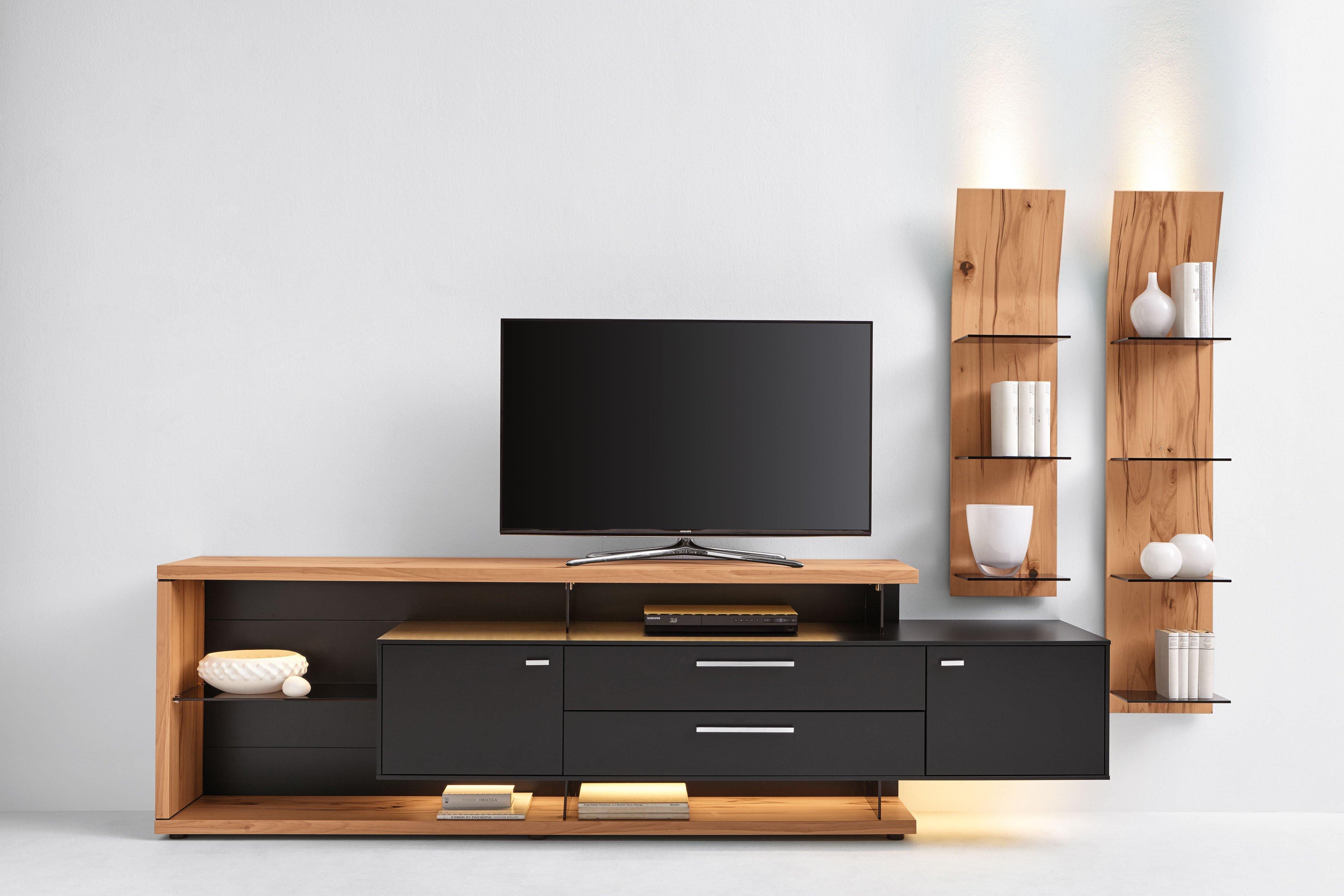 gwinner wohnwand media concept mc906 schwarz kernbuche m bel letz ihr online shop. Black Bedroom Furniture Sets. Home Design Ideas