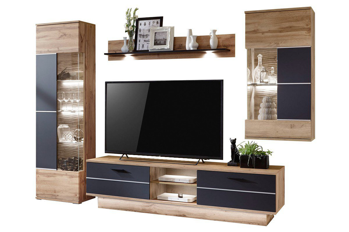 ideal m bel wohnwand alfonso schwarz matt m bel letz. Black Bedroom Furniture Sets. Home Design Ideas