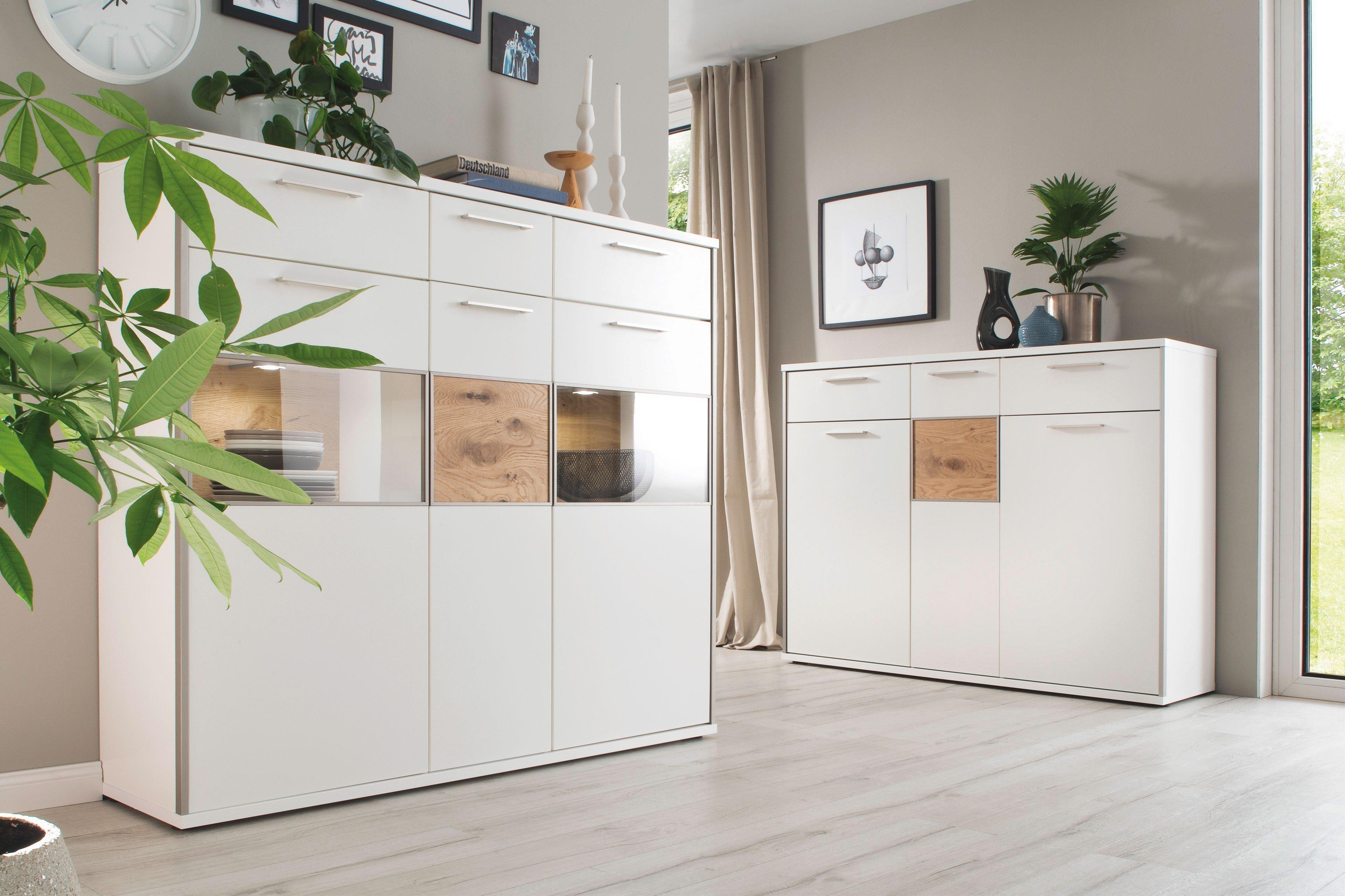 mca davos highboard wei matt balkeneiche m bel letz. Black Bedroom Furniture Sets. Home Design Ideas