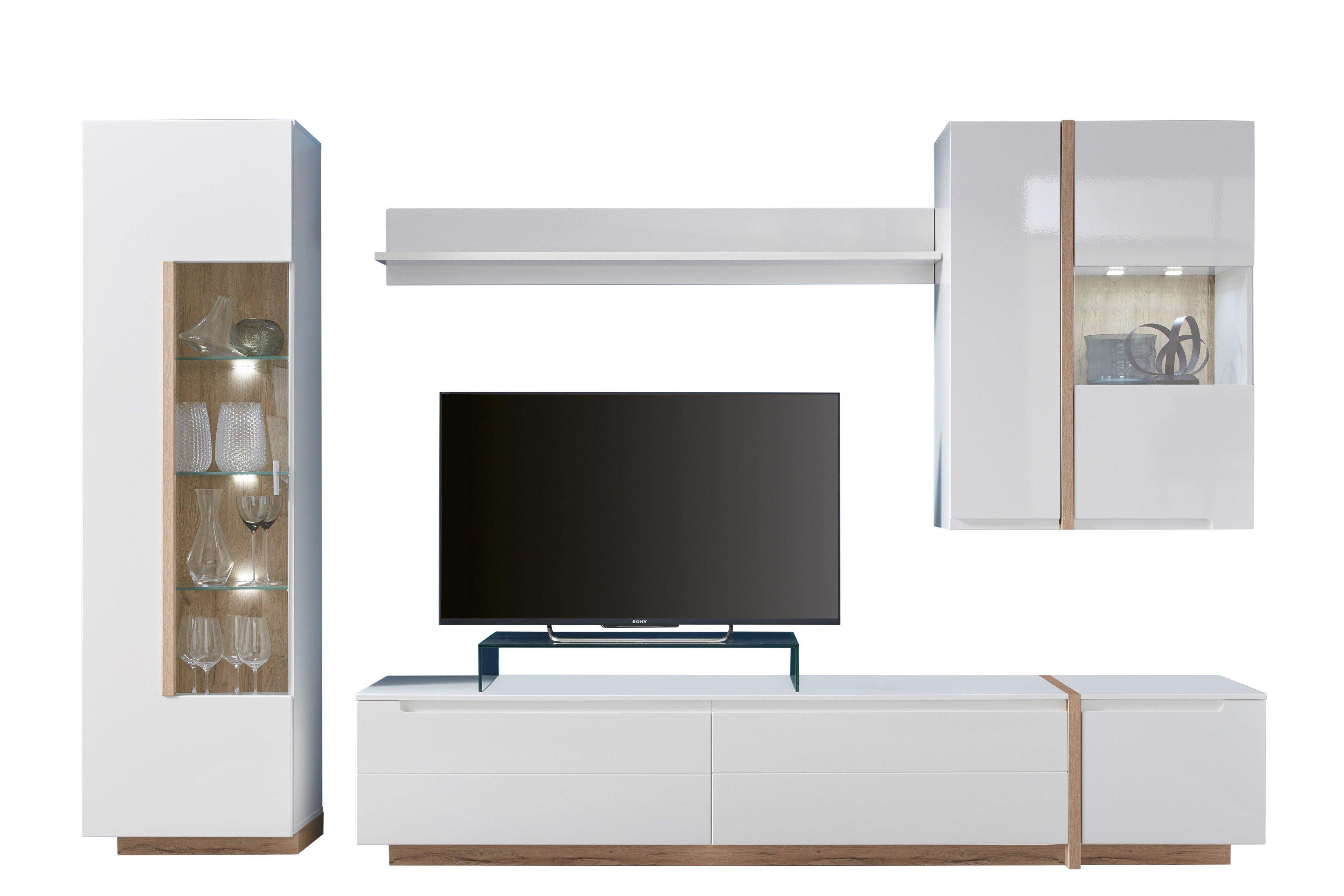 inter furn wohnwand candy wei matt eiche bianco m bel letz ihr online shop. Black Bedroom Furniture Sets. Home Design Ideas