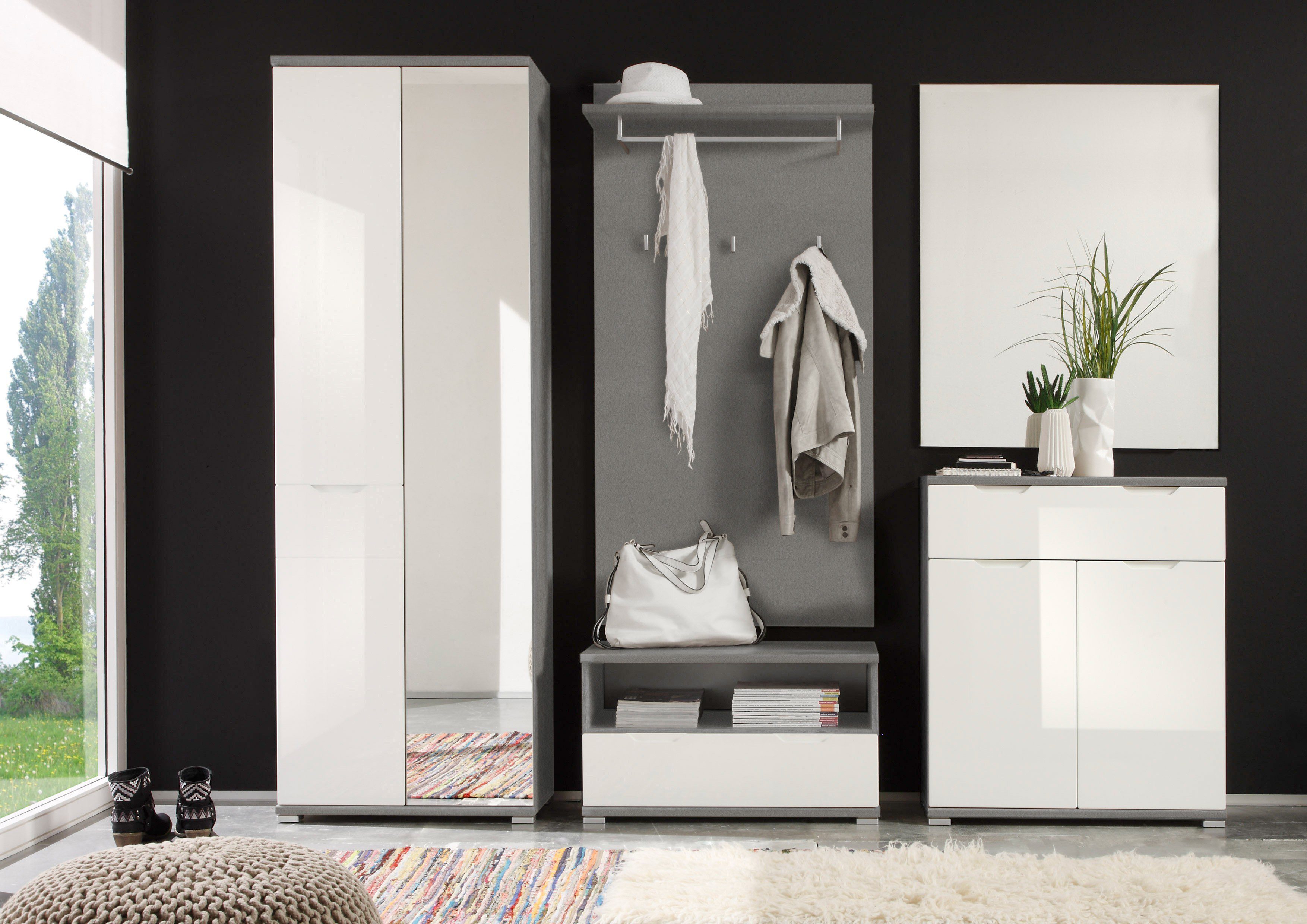 first look garderobe roy grau wei m bel letz ihr online shop. Black Bedroom Furniture Sets. Home Design Ideas