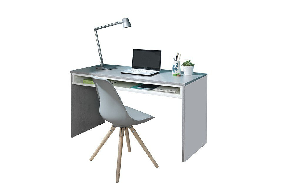 wellem bel schreibtisch concrete beton optik wei. Black Bedroom Furniture Sets. Home Design Ideas