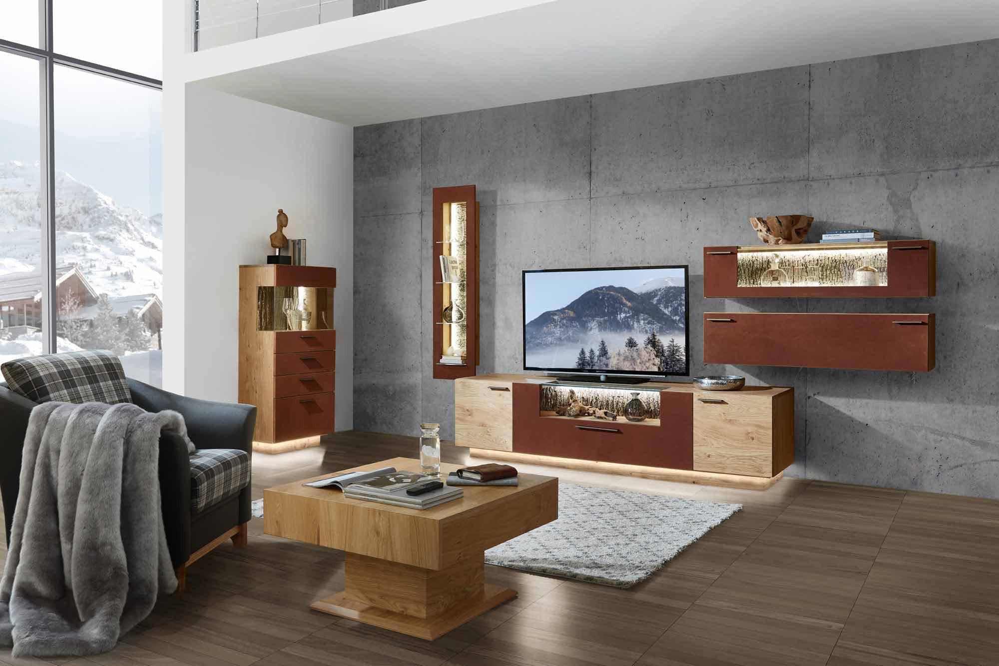 schr der m bel wohnwand kitzalm pur k004 kernwildasteiche edelrost m bel letz ihr online shop. Black Bedroom Furniture Sets. Home Design Ideas