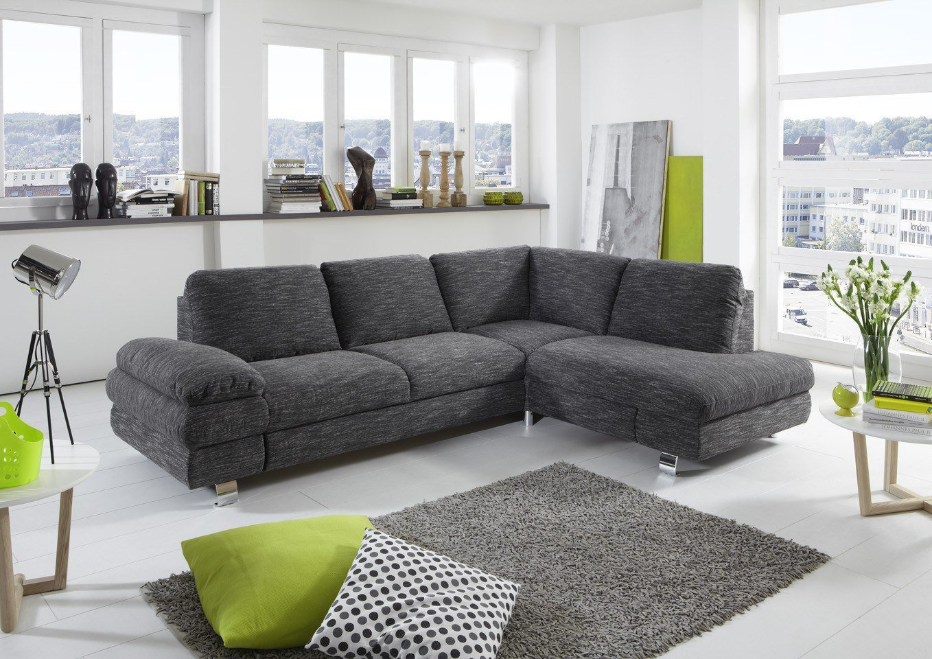 new look m bel manhattan ecksofa in grau m bel letz ihr online shop. Black Bedroom Furniture Sets. Home Design Ideas