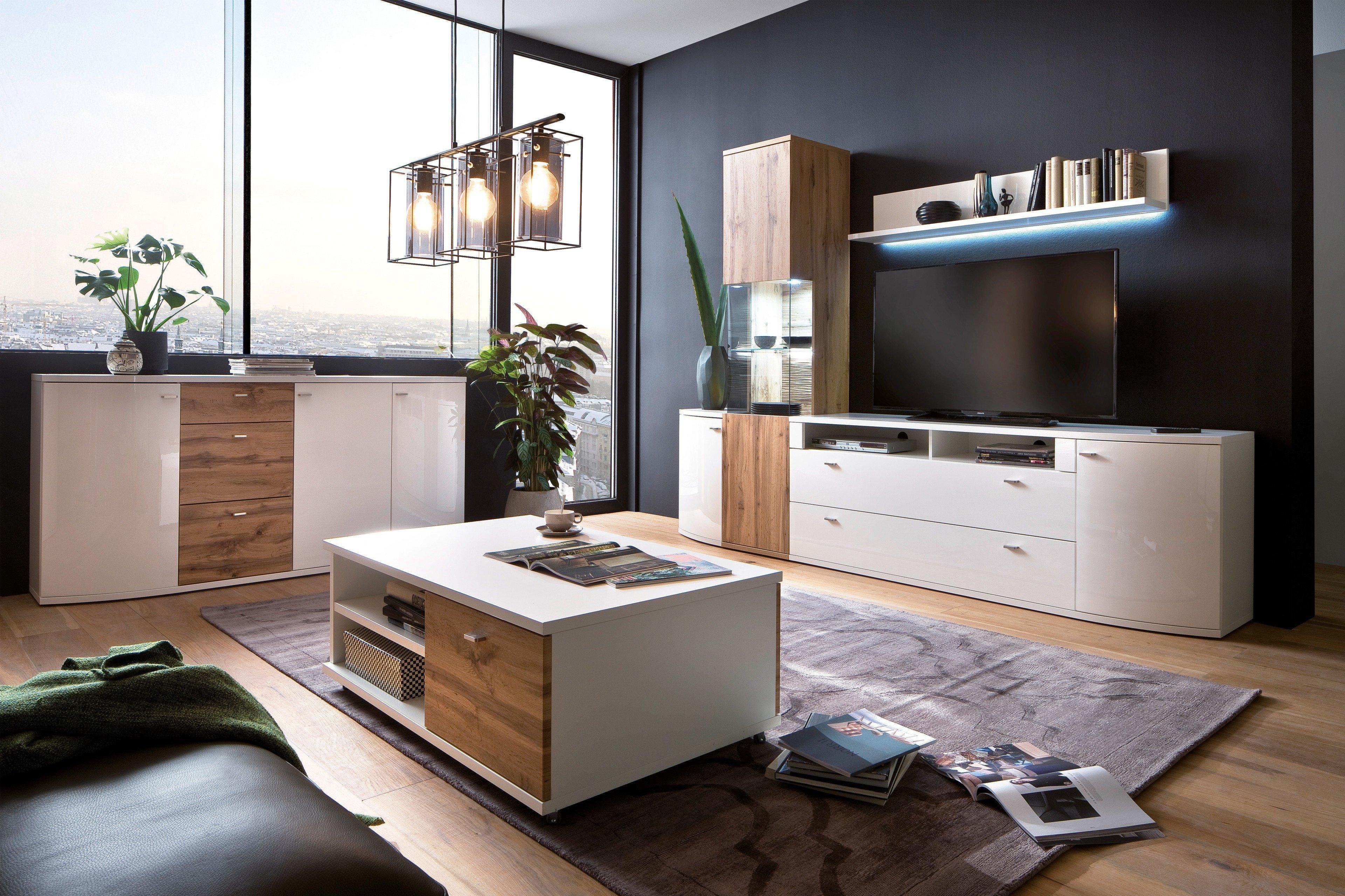 MCA Livorno Wohnwand in Weiß/ Wotan Eiche | Möbel Letz - Ihr Online-Shop