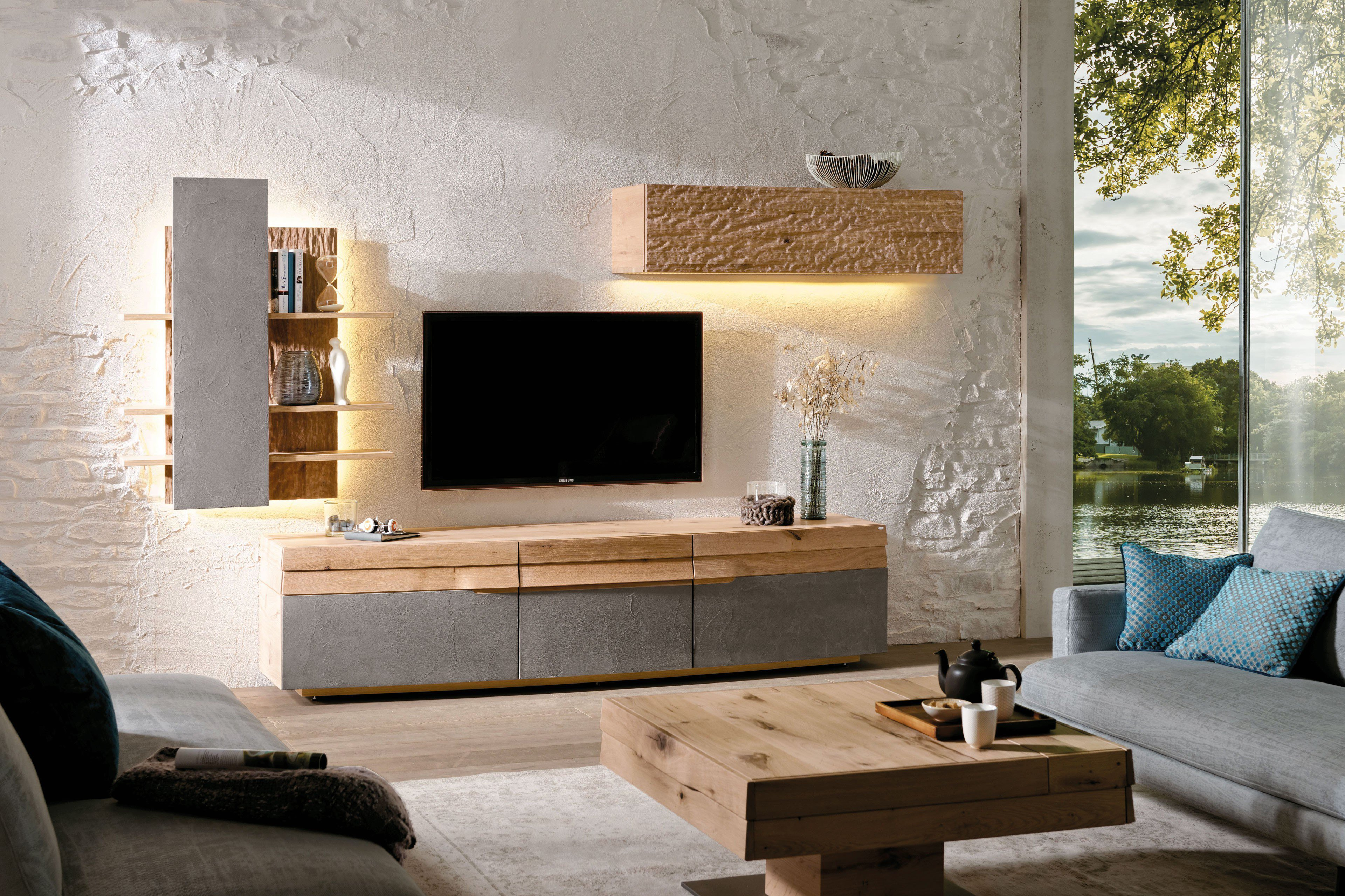 voglauer wohnwand opus 415 wildeiche beton m bel letz. Black Bedroom Furniture Sets. Home Design Ideas
