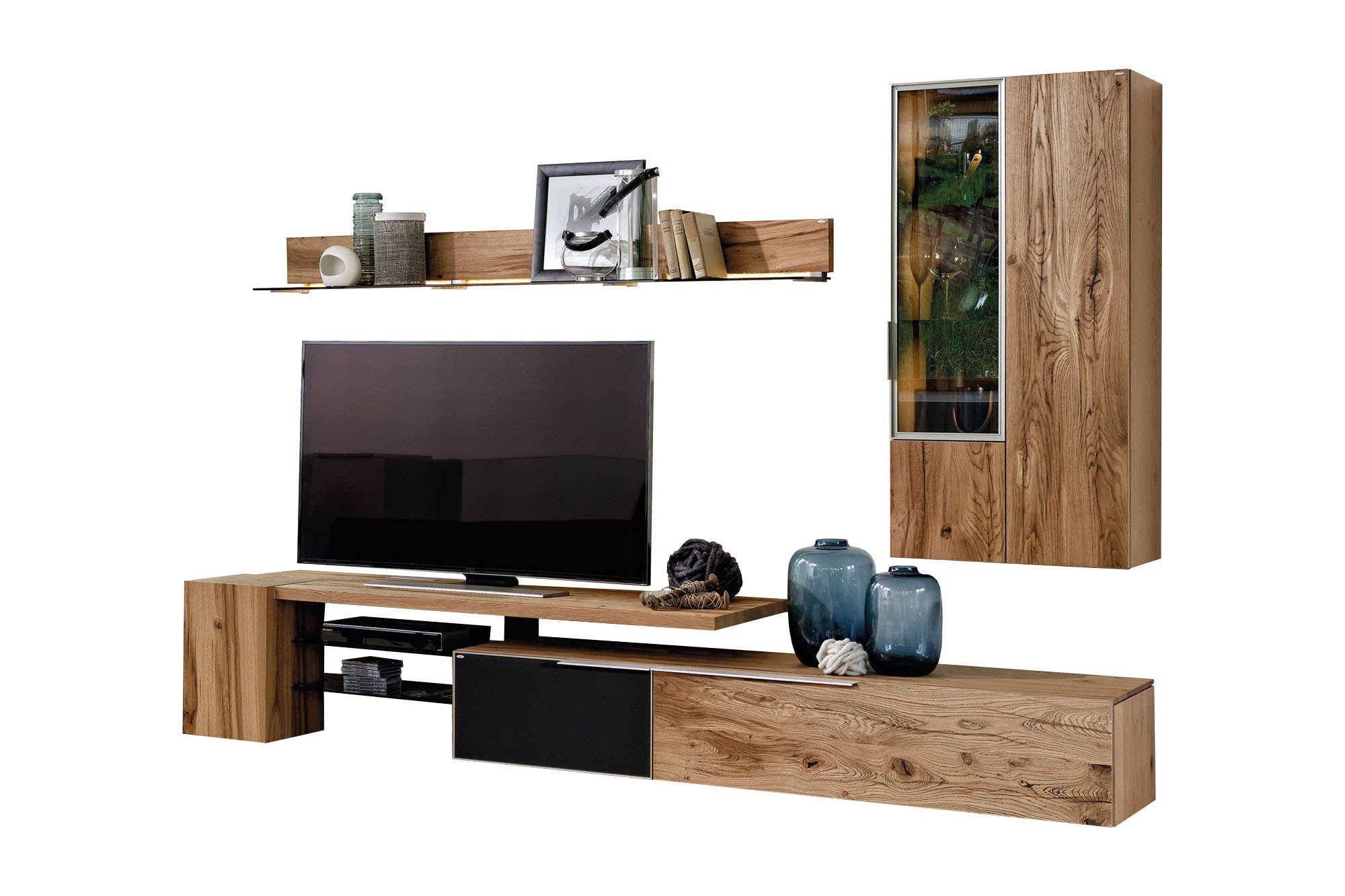 voglauer wohnwand v alpin 224 eiche colorglas m bel. Black Bedroom Furniture Sets. Home Design Ideas