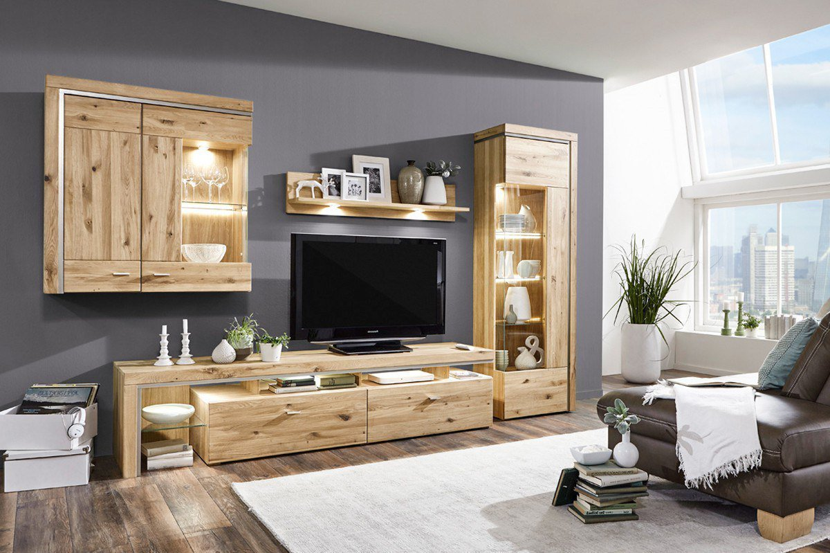 ideal m bel wohnwand bruni 103 eiche m bel letz ihr online shop. Black Bedroom Furniture Sets. Home Design Ideas