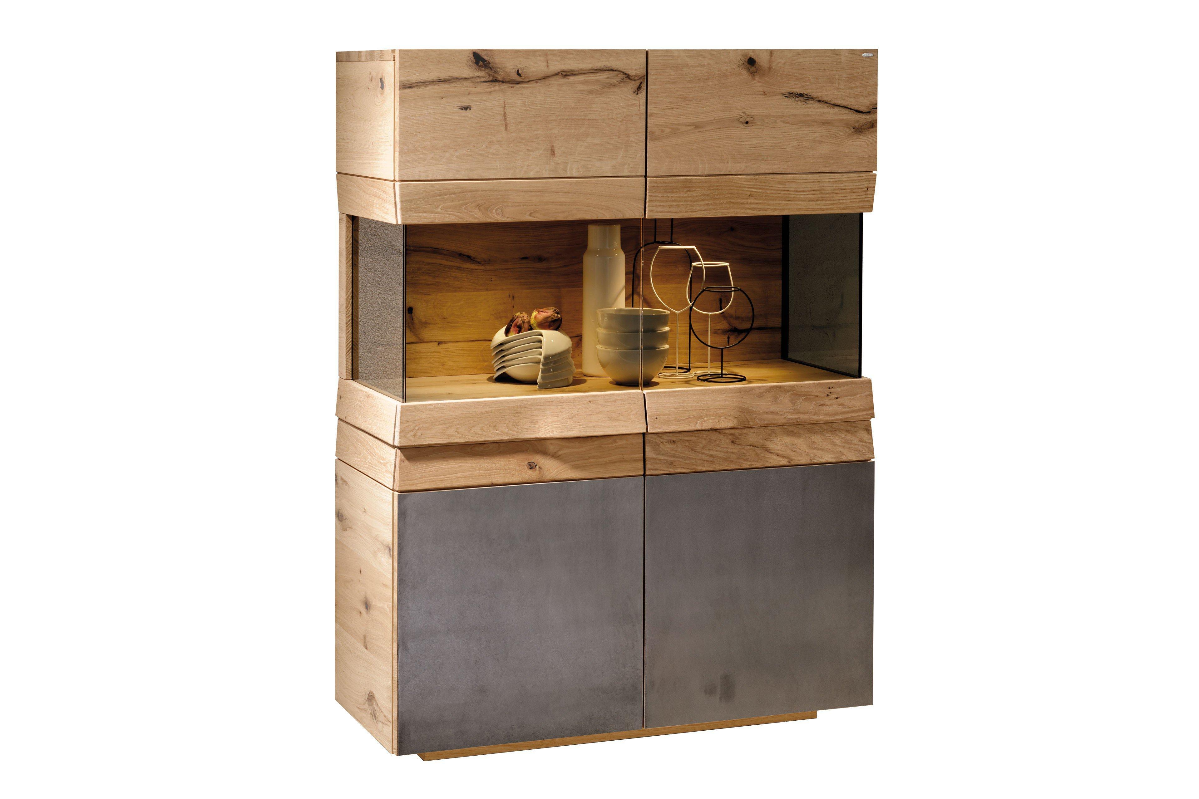 voglauer highboard v organo living 96 wildeiche eisen m bel letz ihr online shop. Black Bedroom Furniture Sets. Home Design Ideas