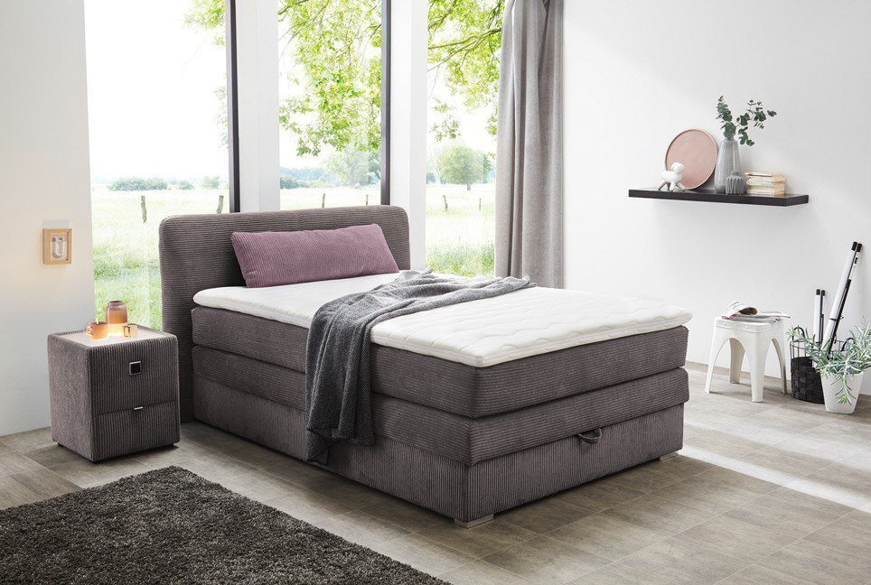 boxspringbett casandra cleo jockenh fer in cord grau m bel letz ihr online shop. Black Bedroom Furniture Sets. Home Design Ideas