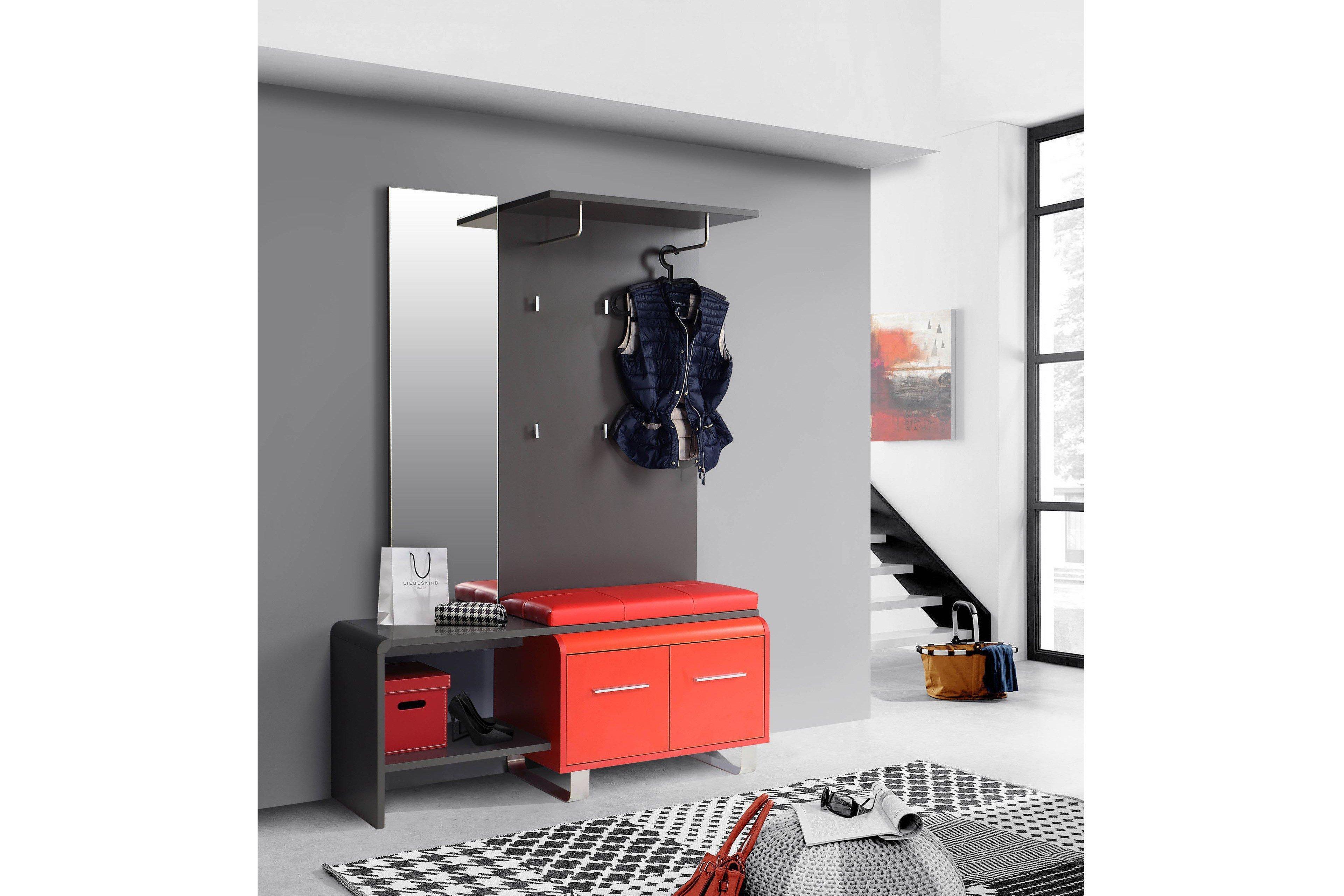 Forte garderobe gilmore rot grau m bel letz ihr online for Garderobe rot