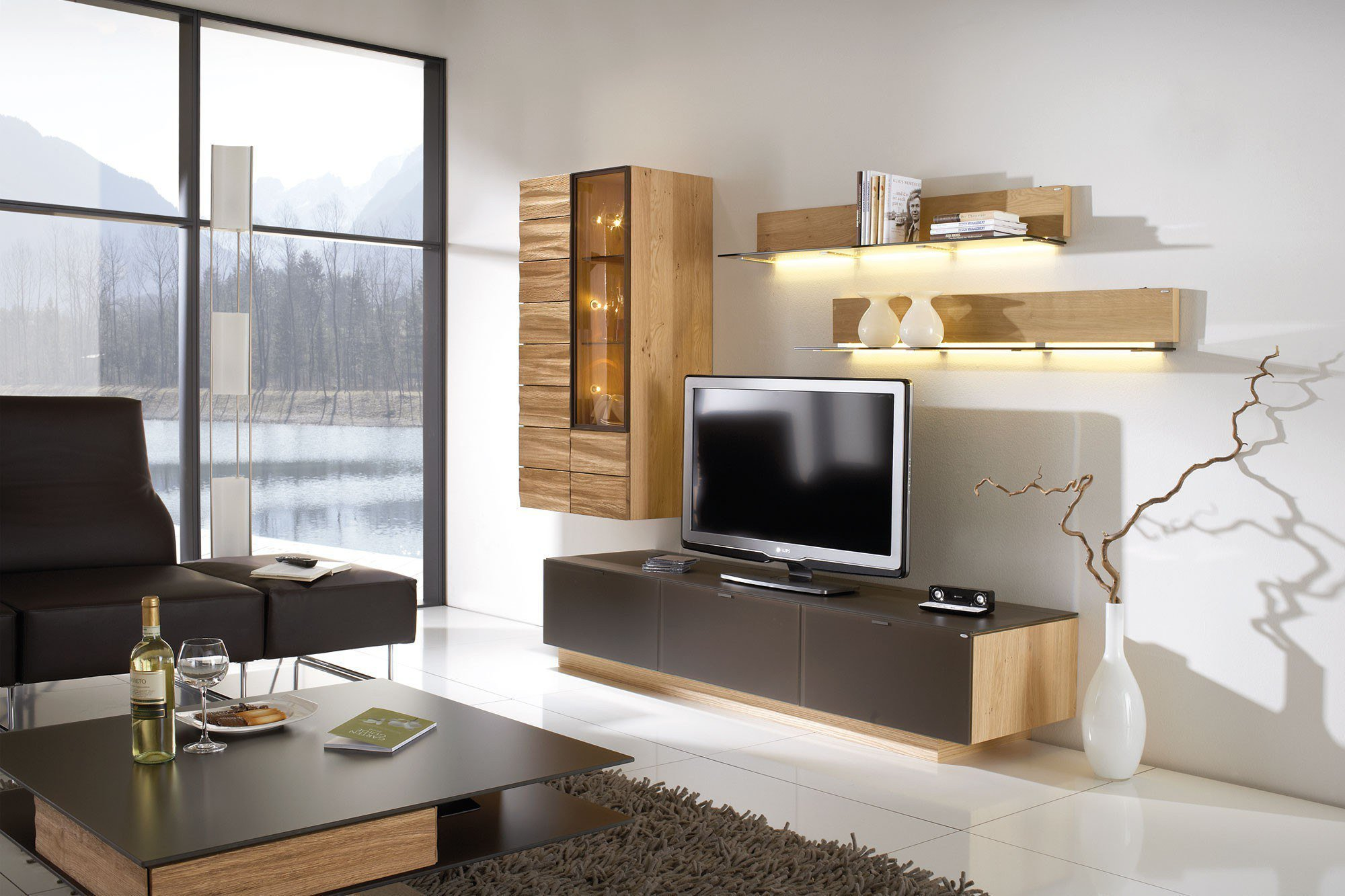 voglauer wohnwand v montana 128 wildeiche brown m bel. Black Bedroom Furniture Sets. Home Design Ideas