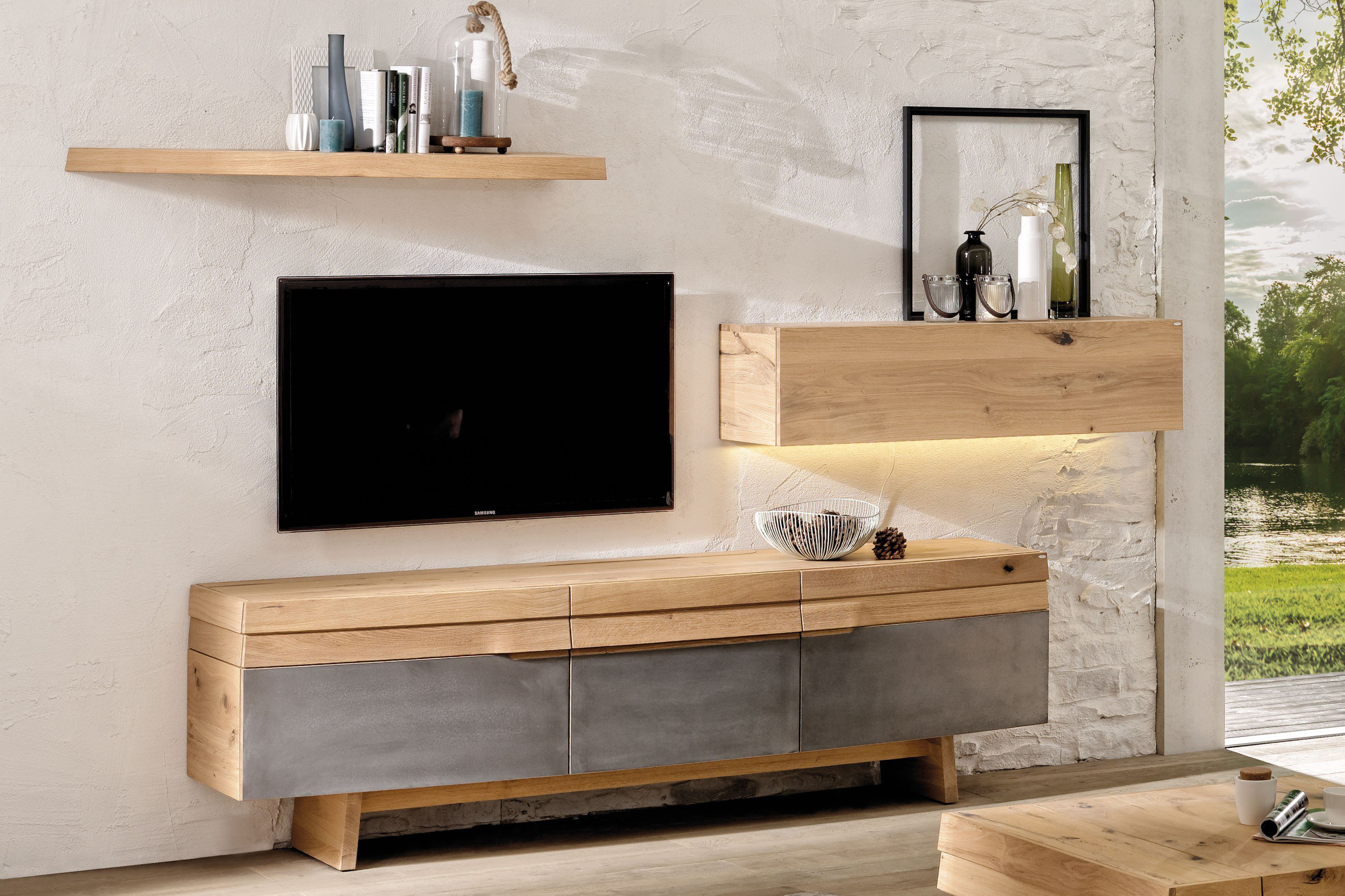 voglauer wohnwand v organo living eiche eisen m bel letz ihr online shop. Black Bedroom Furniture Sets. Home Design Ideas