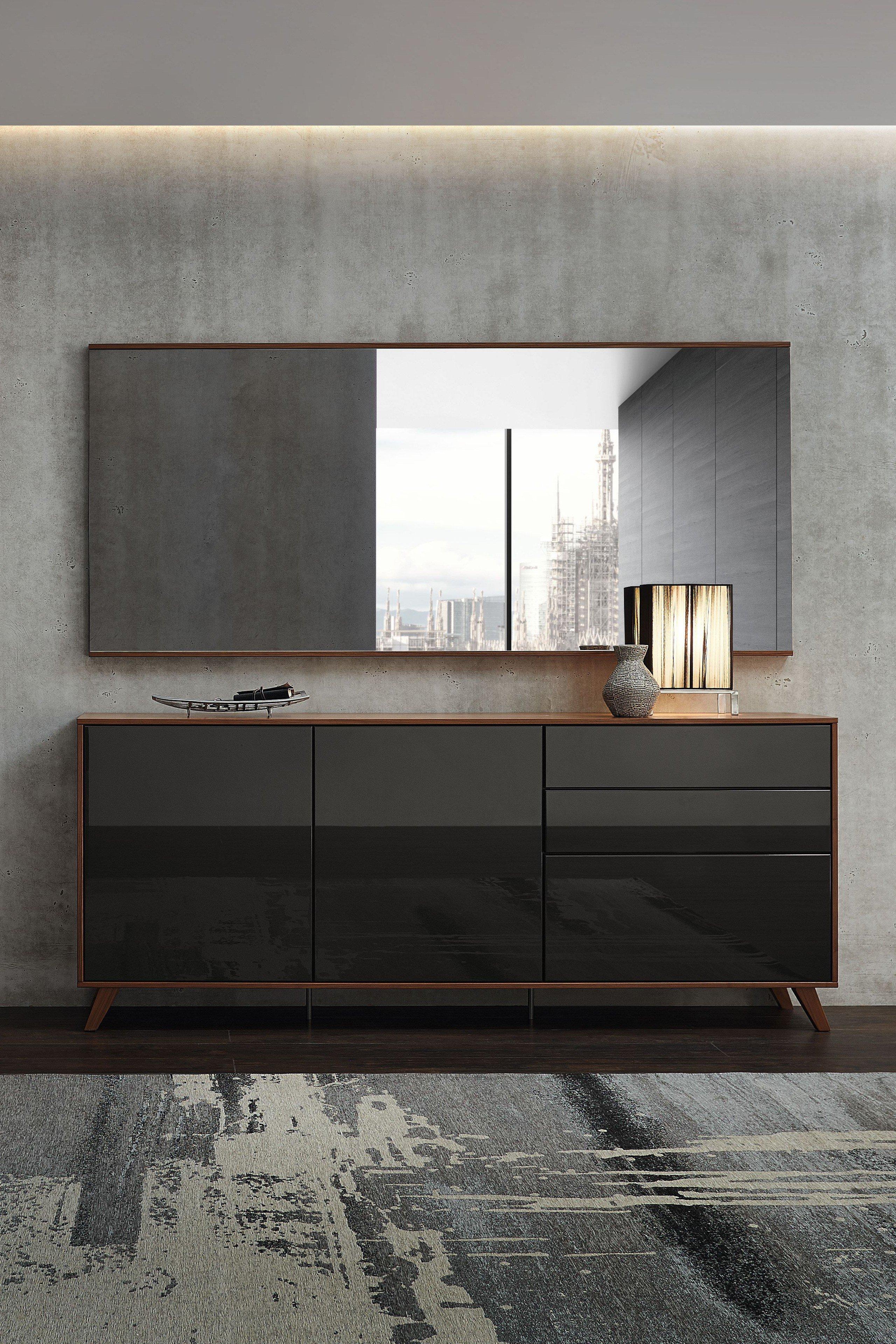 Deviso von Rietberger - Garderobe in Nussbaum nova/ Lack graphit