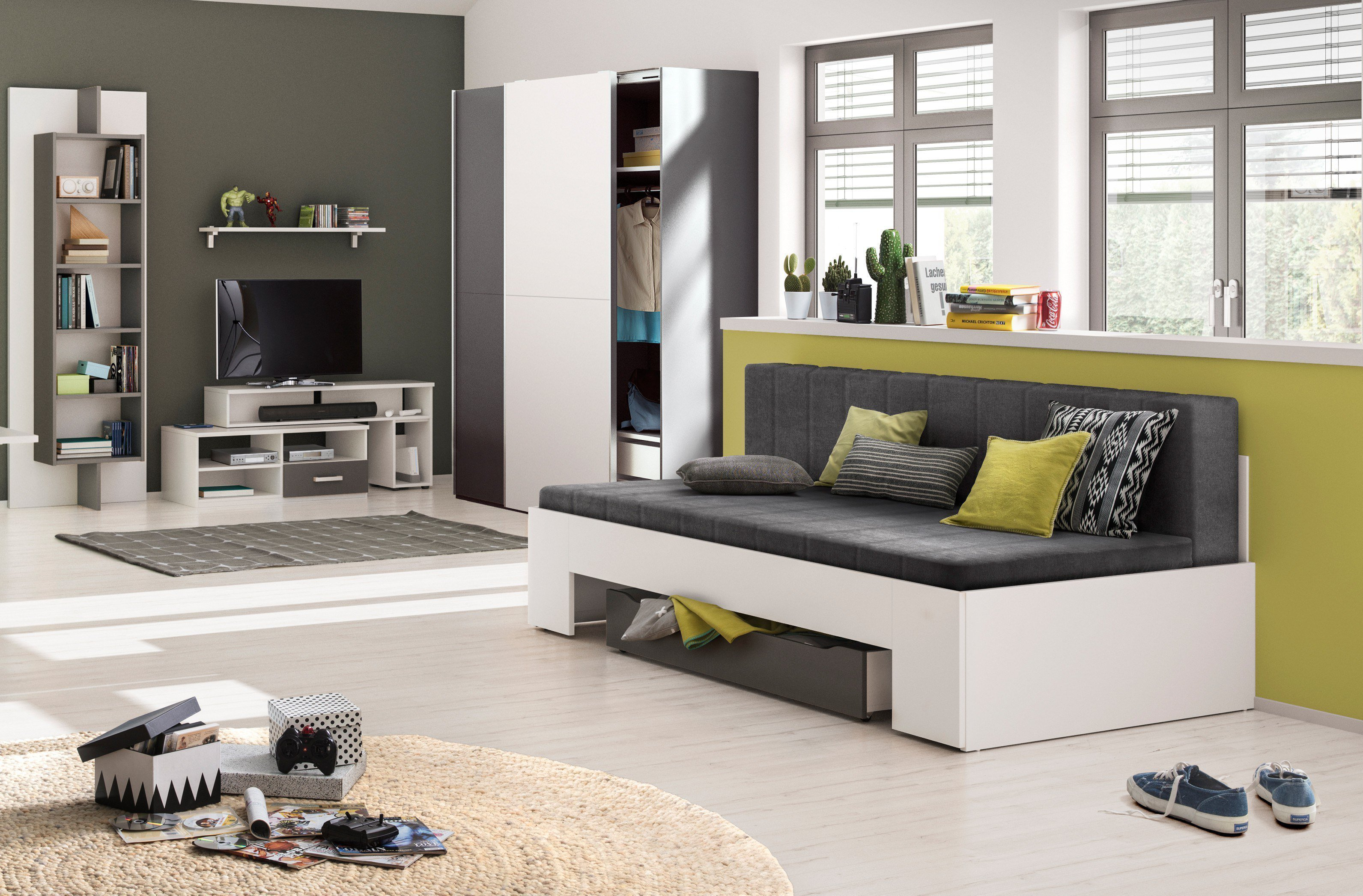 r hr slide schrank und bettsofa wei anthrazit m bel letz ihr online shop. Black Bedroom Furniture Sets. Home Design Ideas