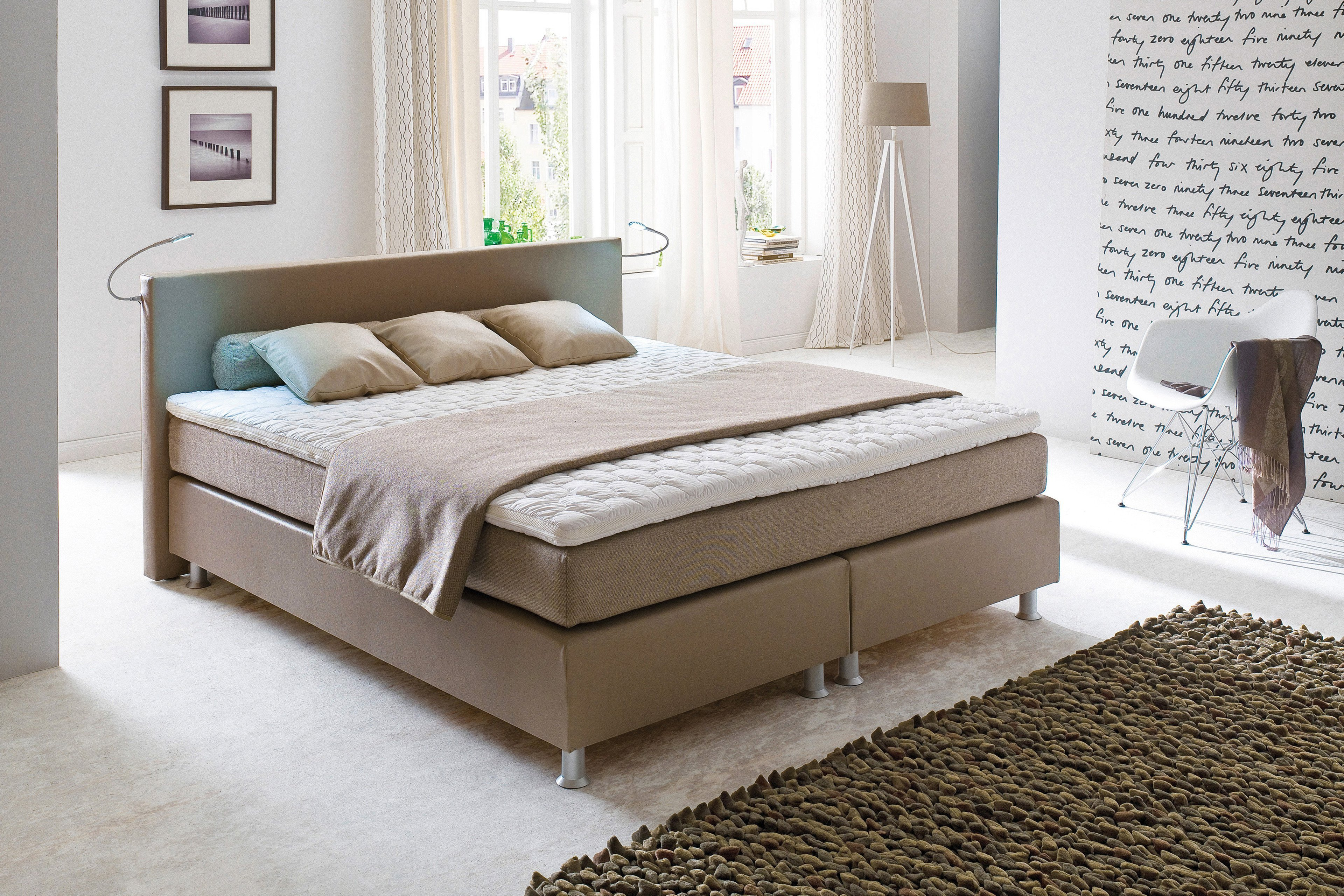 oschmann belcanto luxus boxspringbett in kunstleder beige m bel letz ihr online shop. Black Bedroom Furniture Sets. Home Design Ideas
