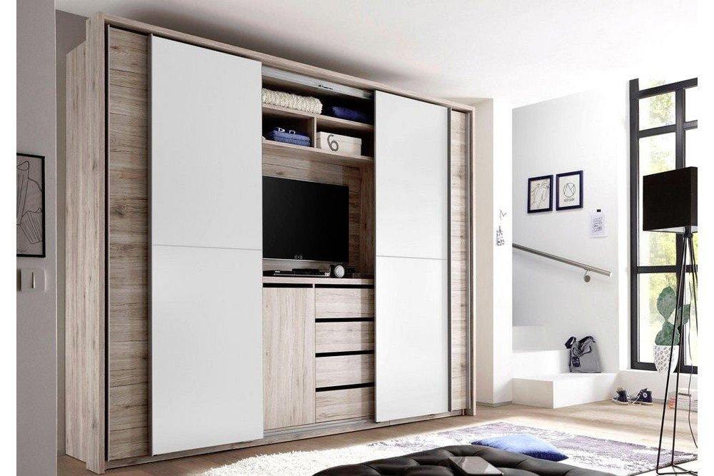 cinema kleiderschrank mit tv aussparung pol power m bel. Black Bedroom Furniture Sets. Home Design Ideas