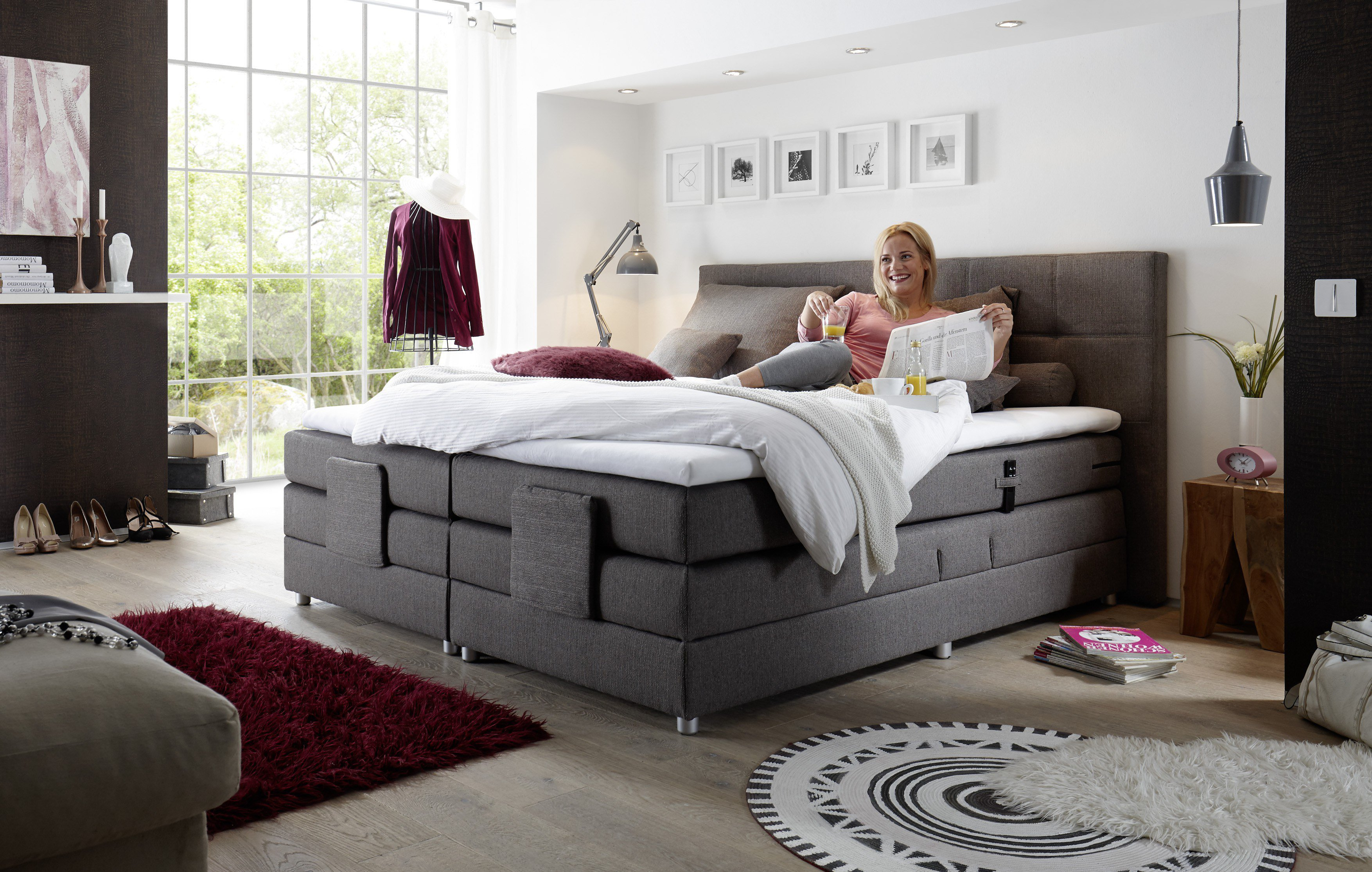 black red white boxspringbett manolo juliann in steingrau m bel letz ihr online shop. Black Bedroom Furniture Sets. Home Design Ideas