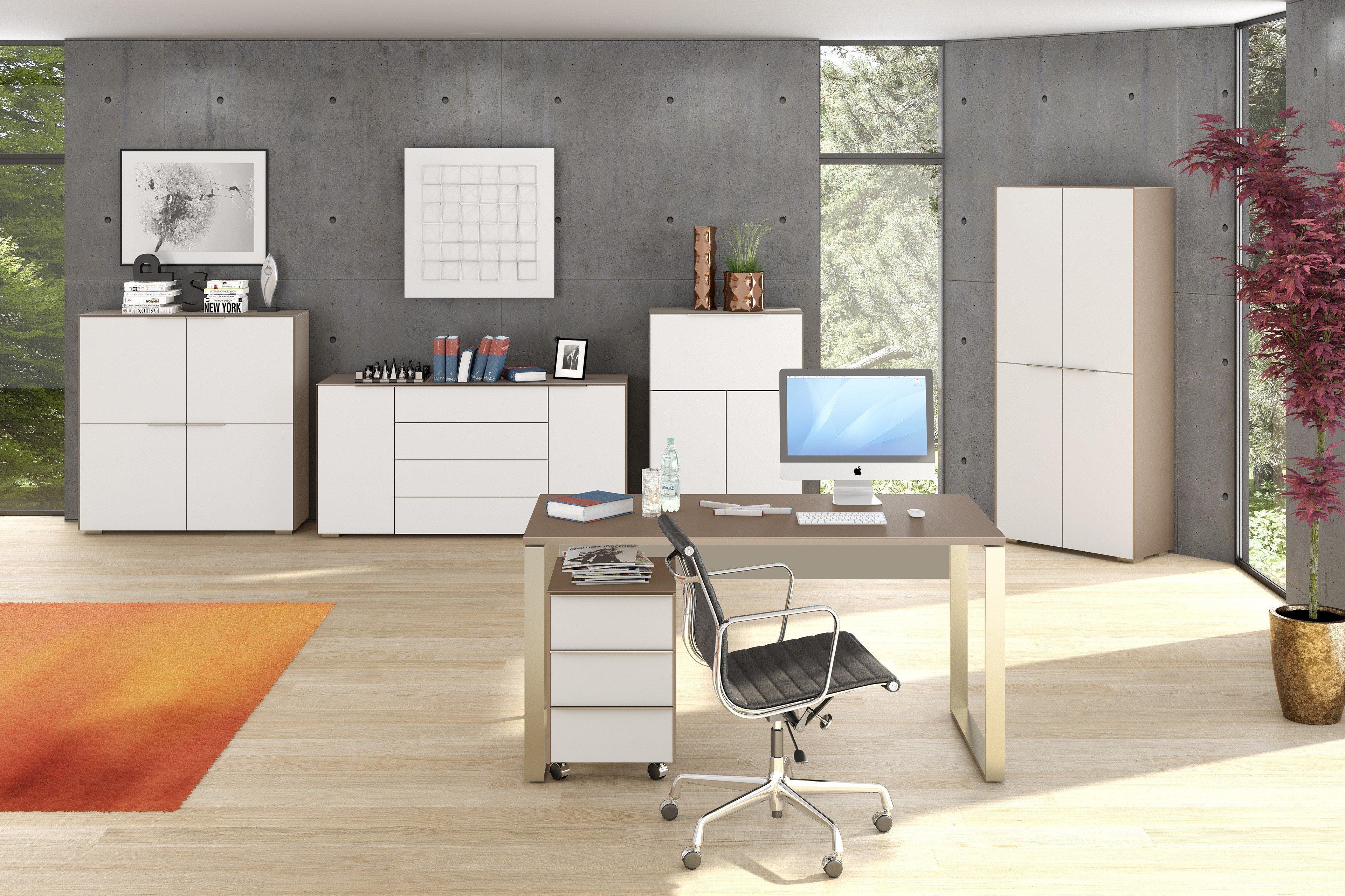 Yas Schreibtisch von Maja Büromöbel Weißglas - sand | Möbel Letz ...