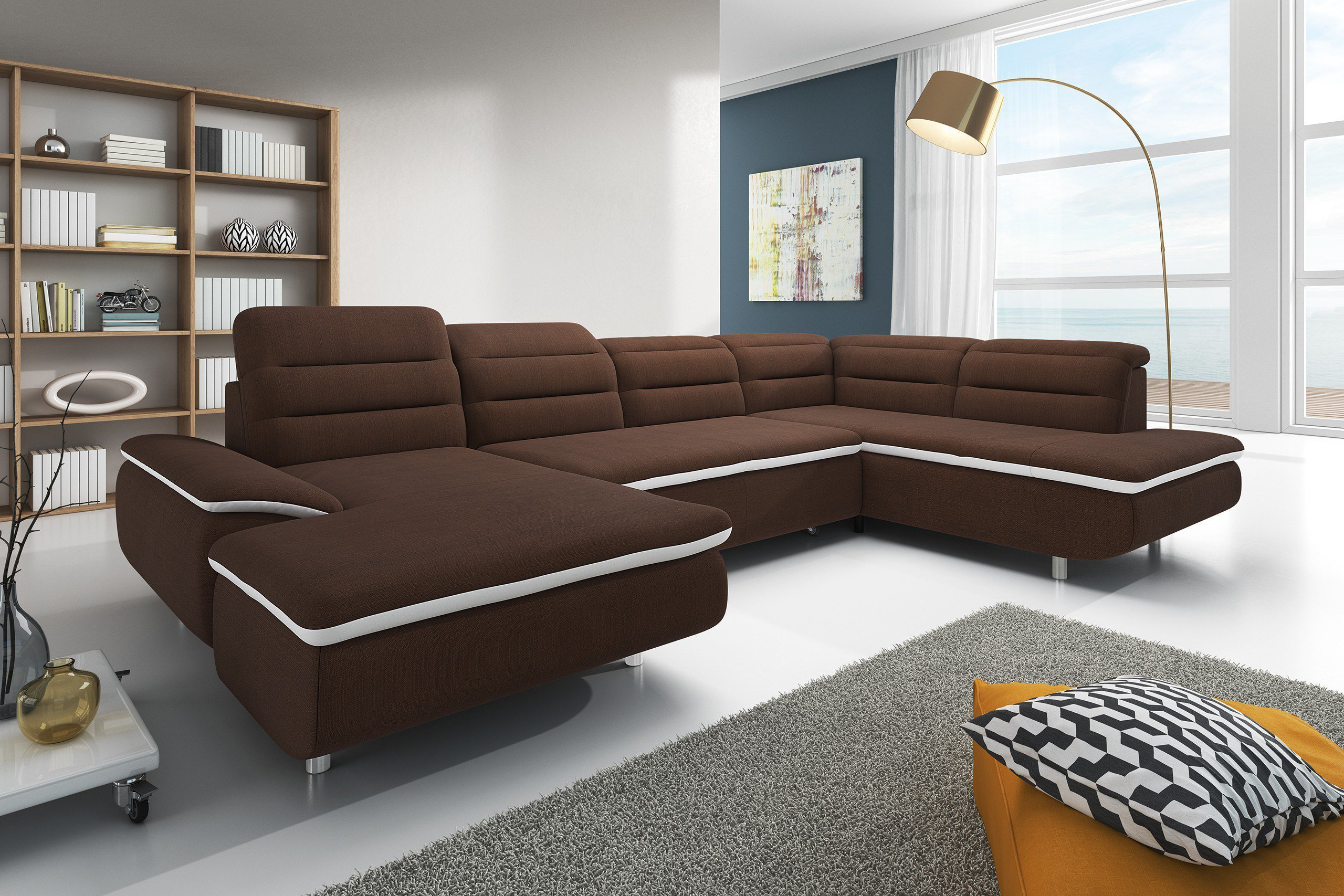 new look m bel slize u sofa in braun m bel letz ihr online shop. Black Bedroom Furniture Sets. Home Design Ideas
