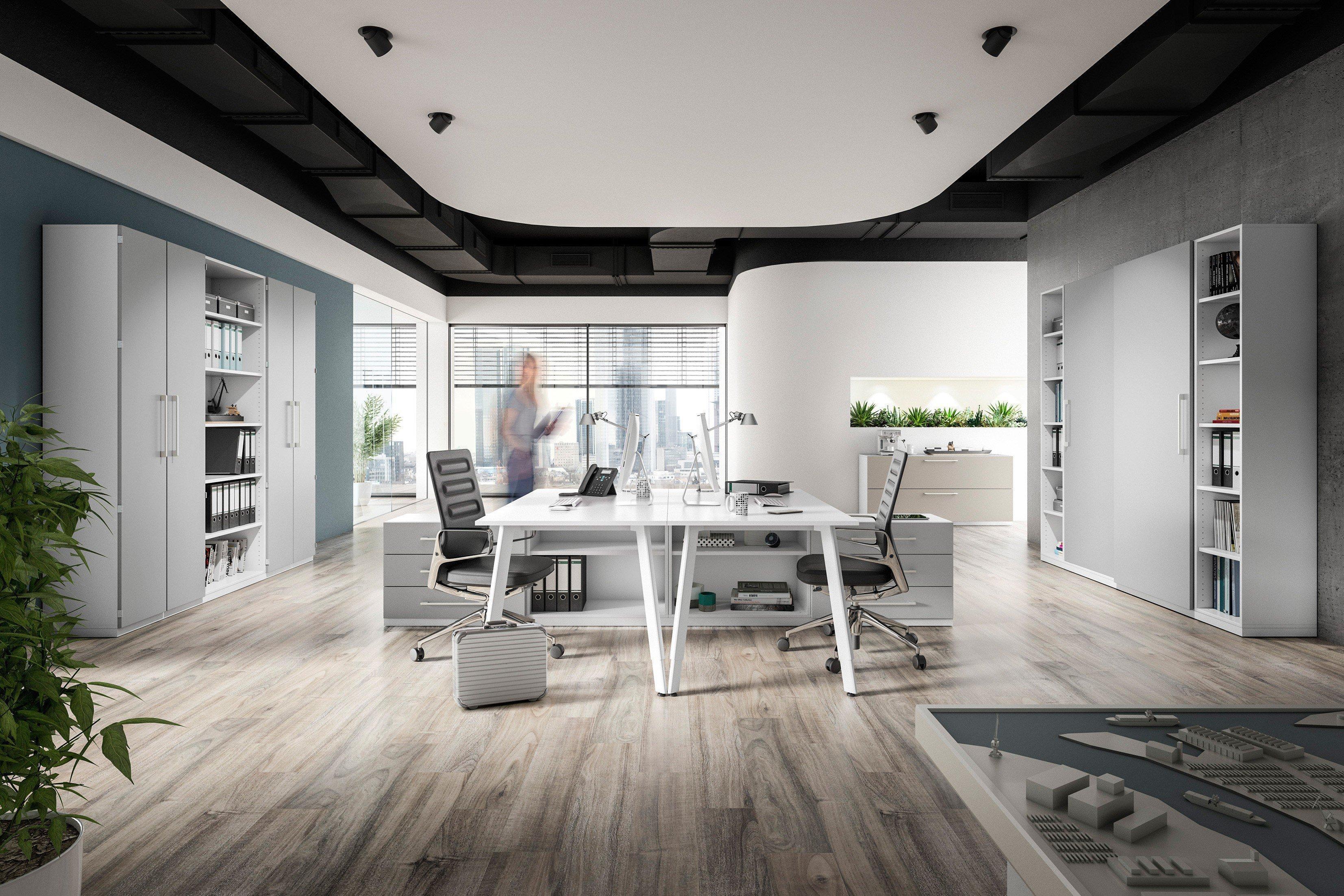 r hr doppelschreibtisch wei silbergrau. Black Bedroom Furniture Sets. Home Design Ideas