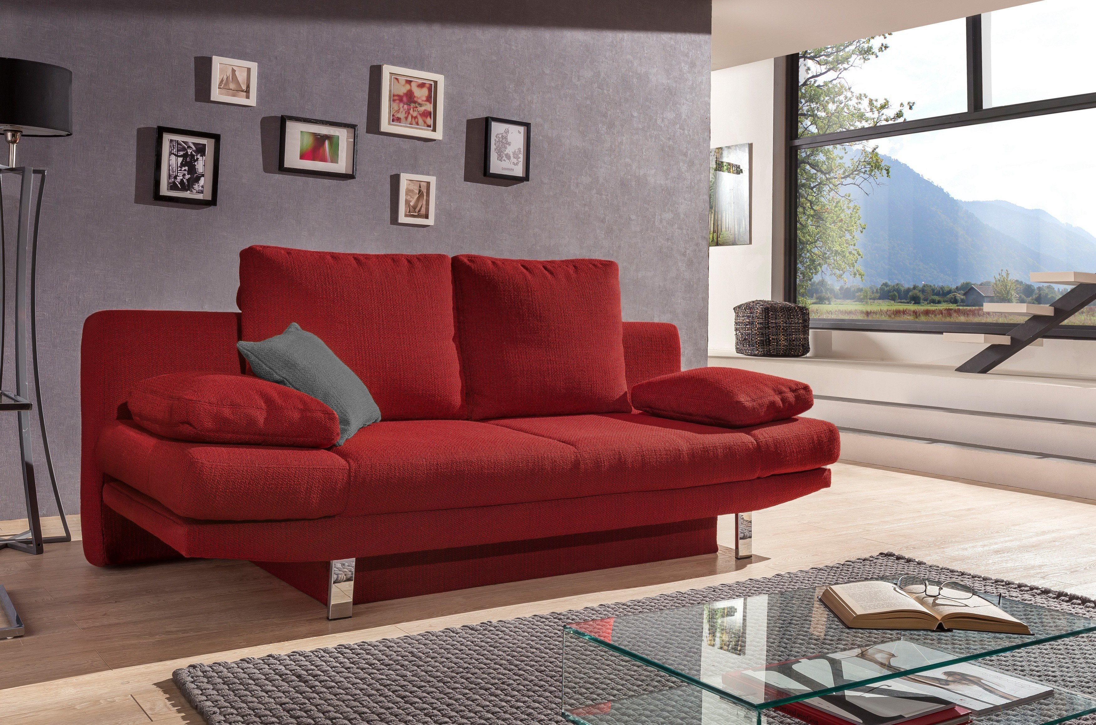 schlafsofa valencia von goldammer in rot mit bettkasten m bel letz ihr online shop. Black Bedroom Furniture Sets. Home Design Ideas